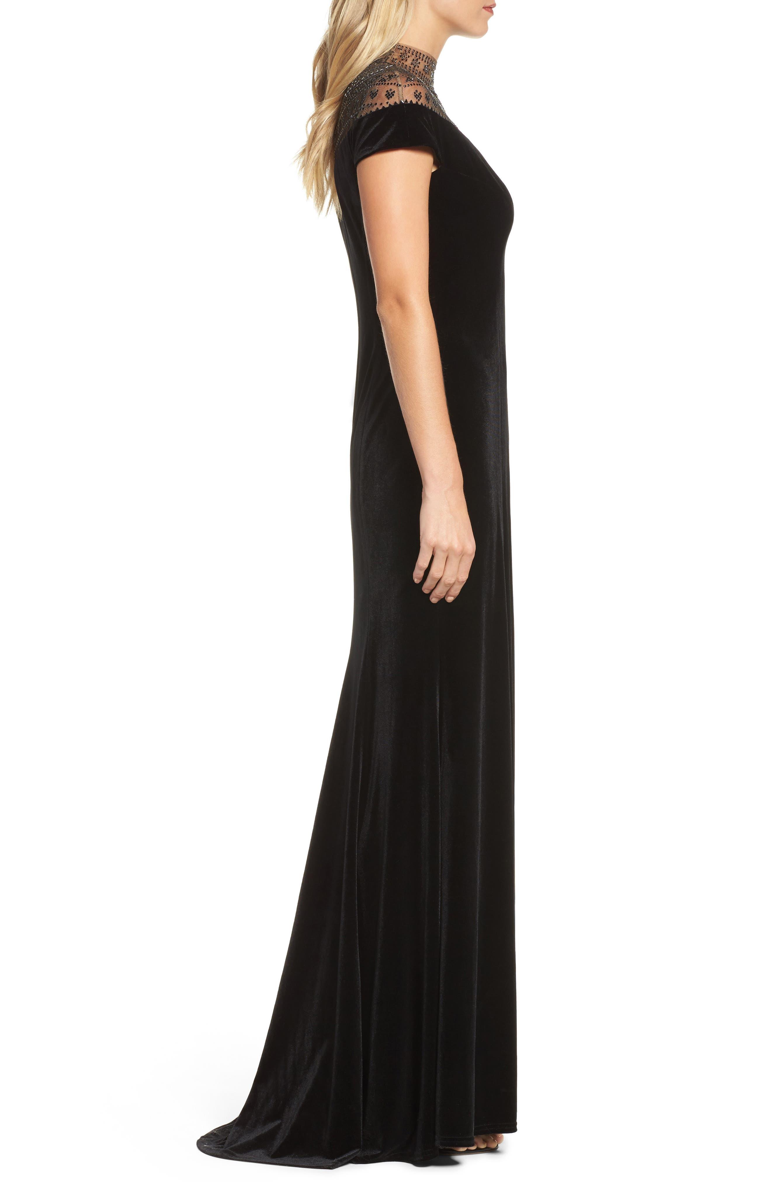 Embellished Deep V-Neck Velvet Gown,                             Alternate thumbnail 3, color,                             Black