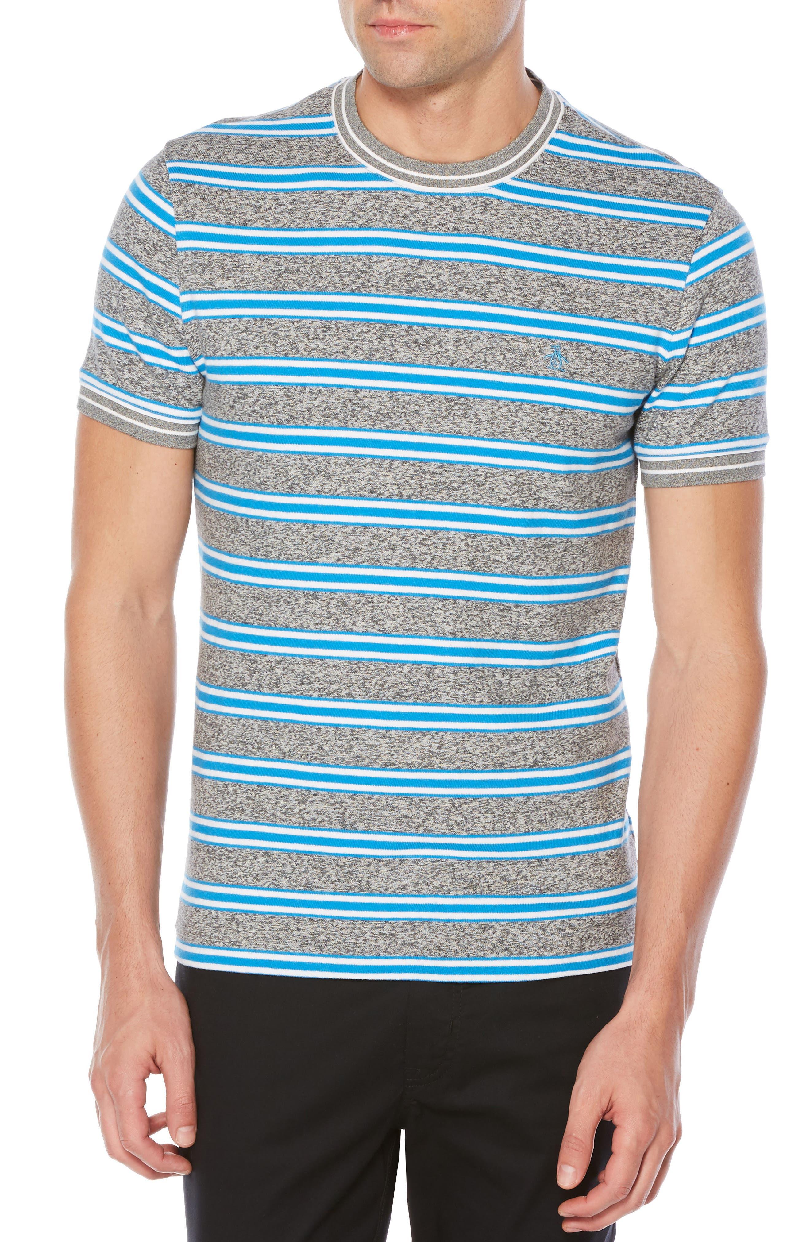Jaspé Retro Stripe T-Shirt,                             Main thumbnail 1, color,                             Swedish Blue
