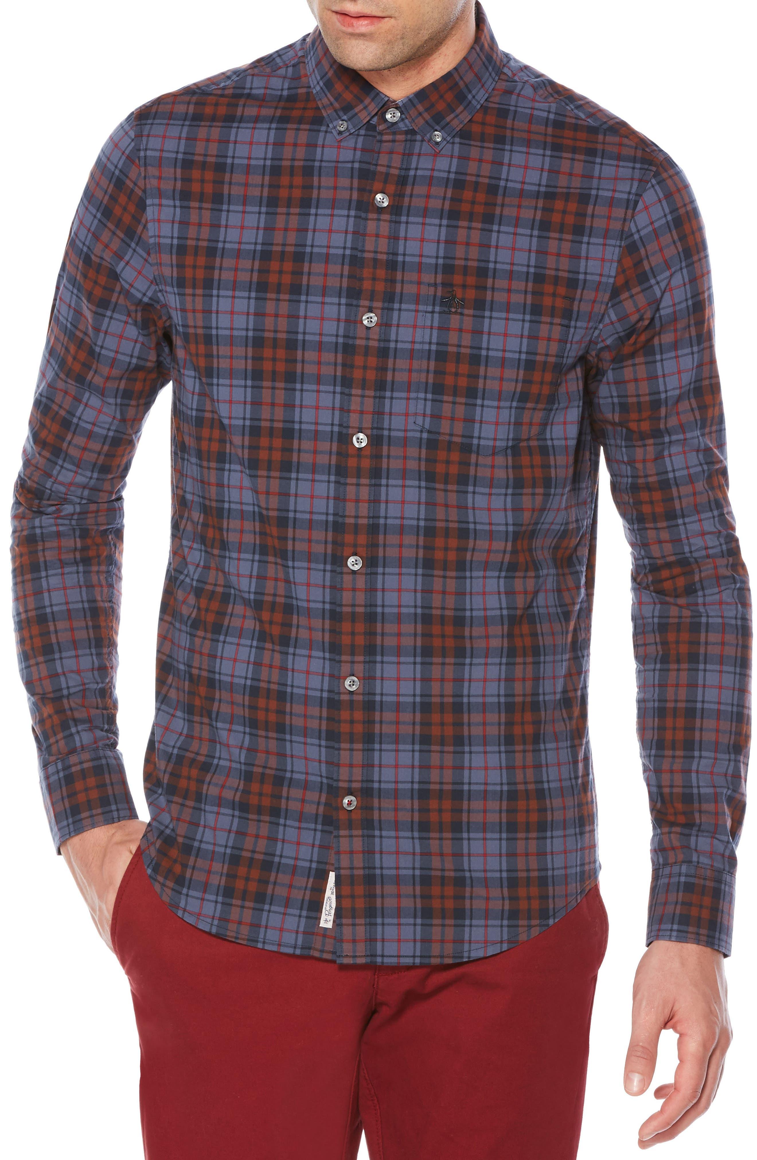 P55 Heritage Slim Fit Plaid Shirt,                         Main,                         color, Dark Sapphire