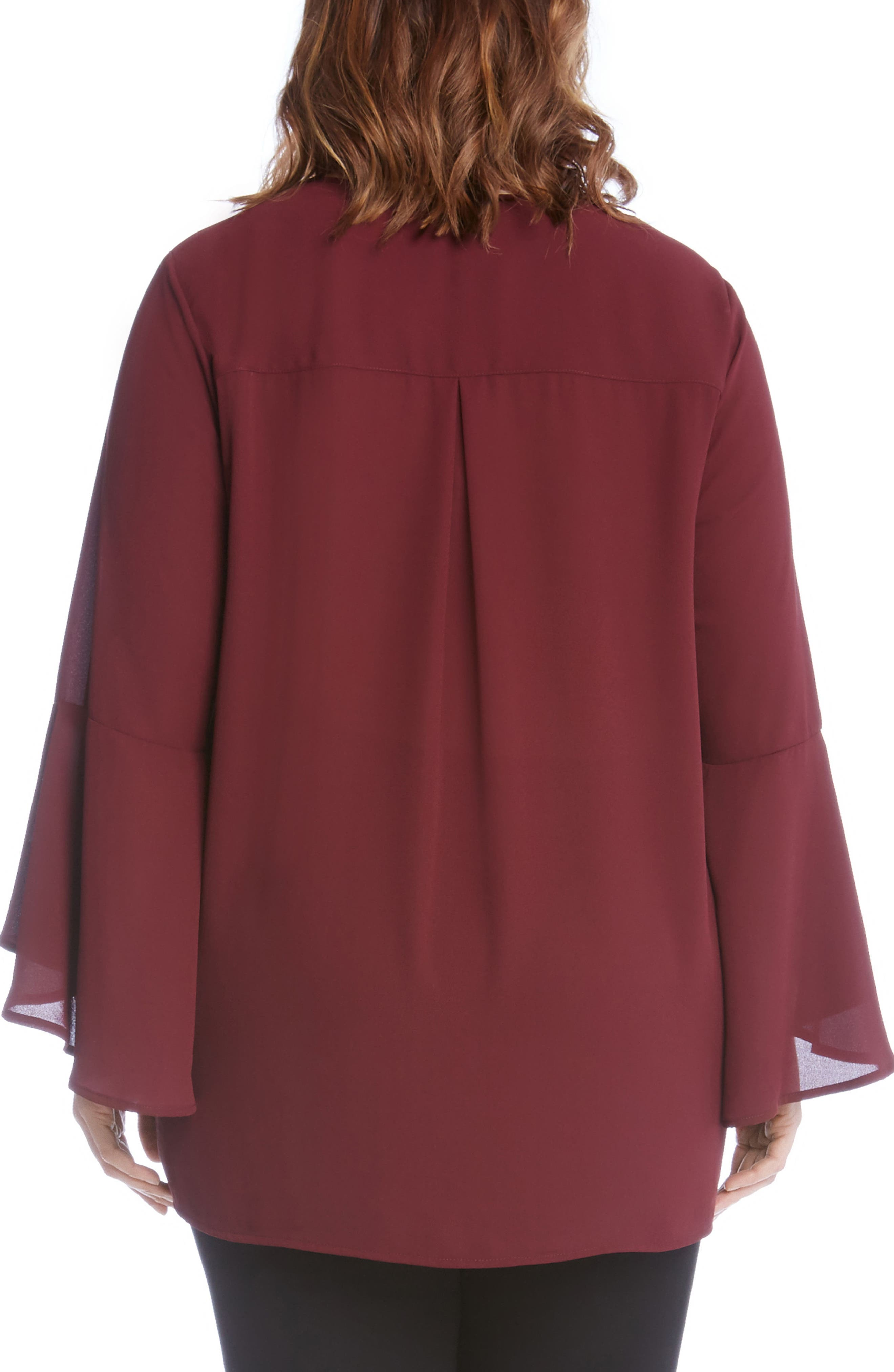 Alternate Image 3  - Karen Kane Split Sleeve Asymmetrical Hem Top (Plus Size)