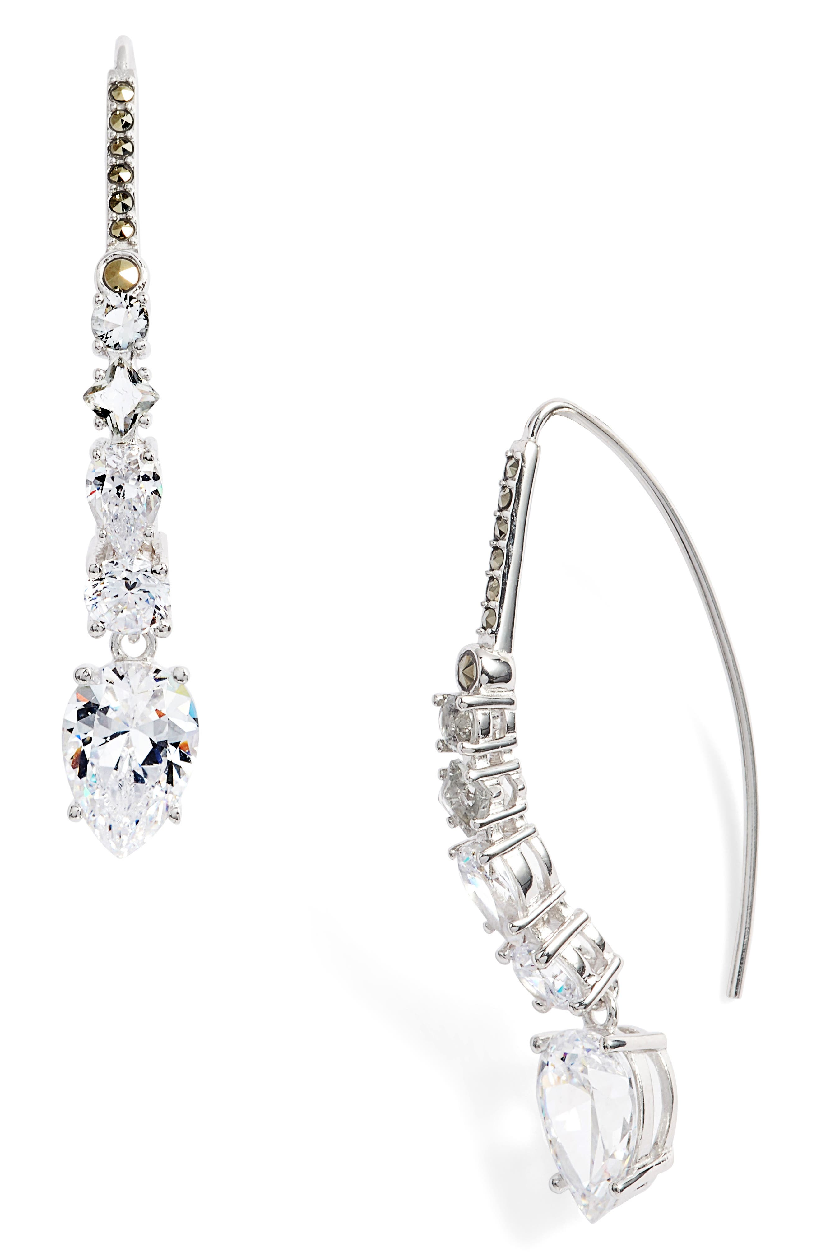Cubic Zirconia Threader Earrings,                         Main,                         color, Silver