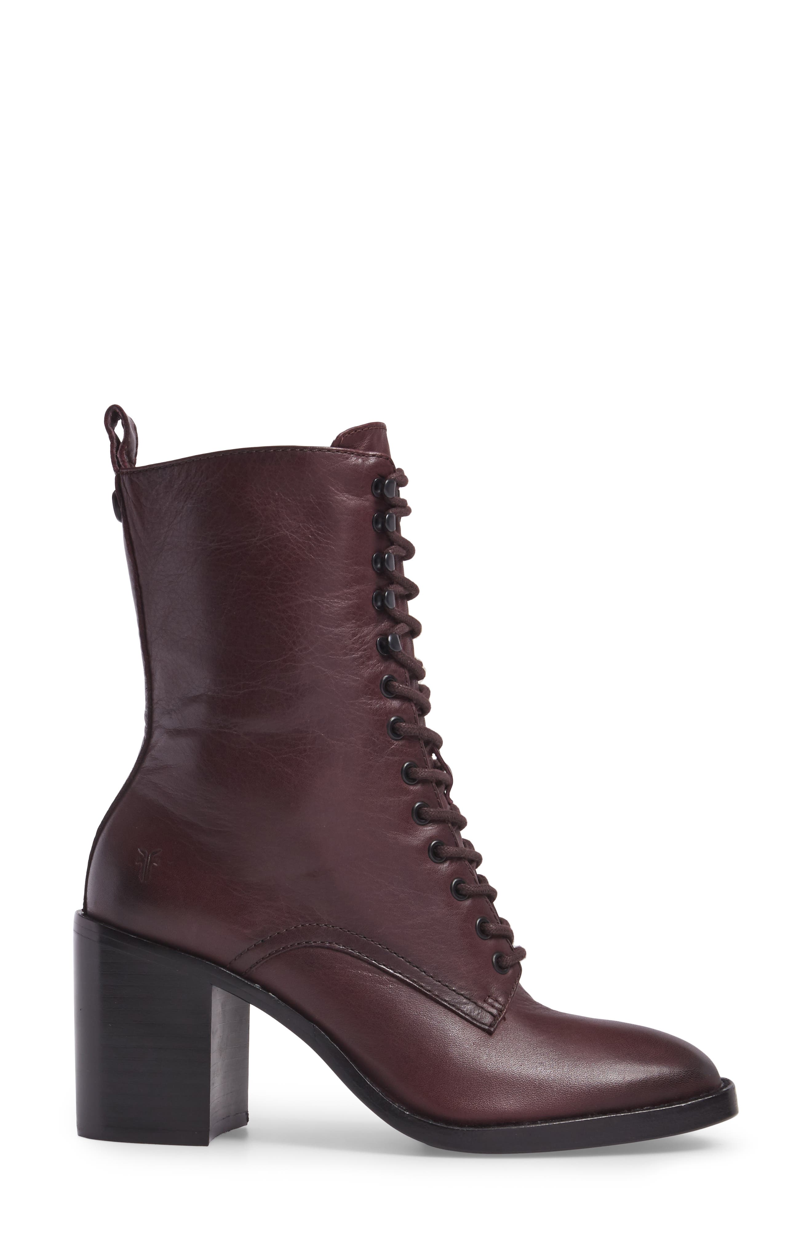 Pia Combat Boot,                             Alternate thumbnail 3, color,                             Wine