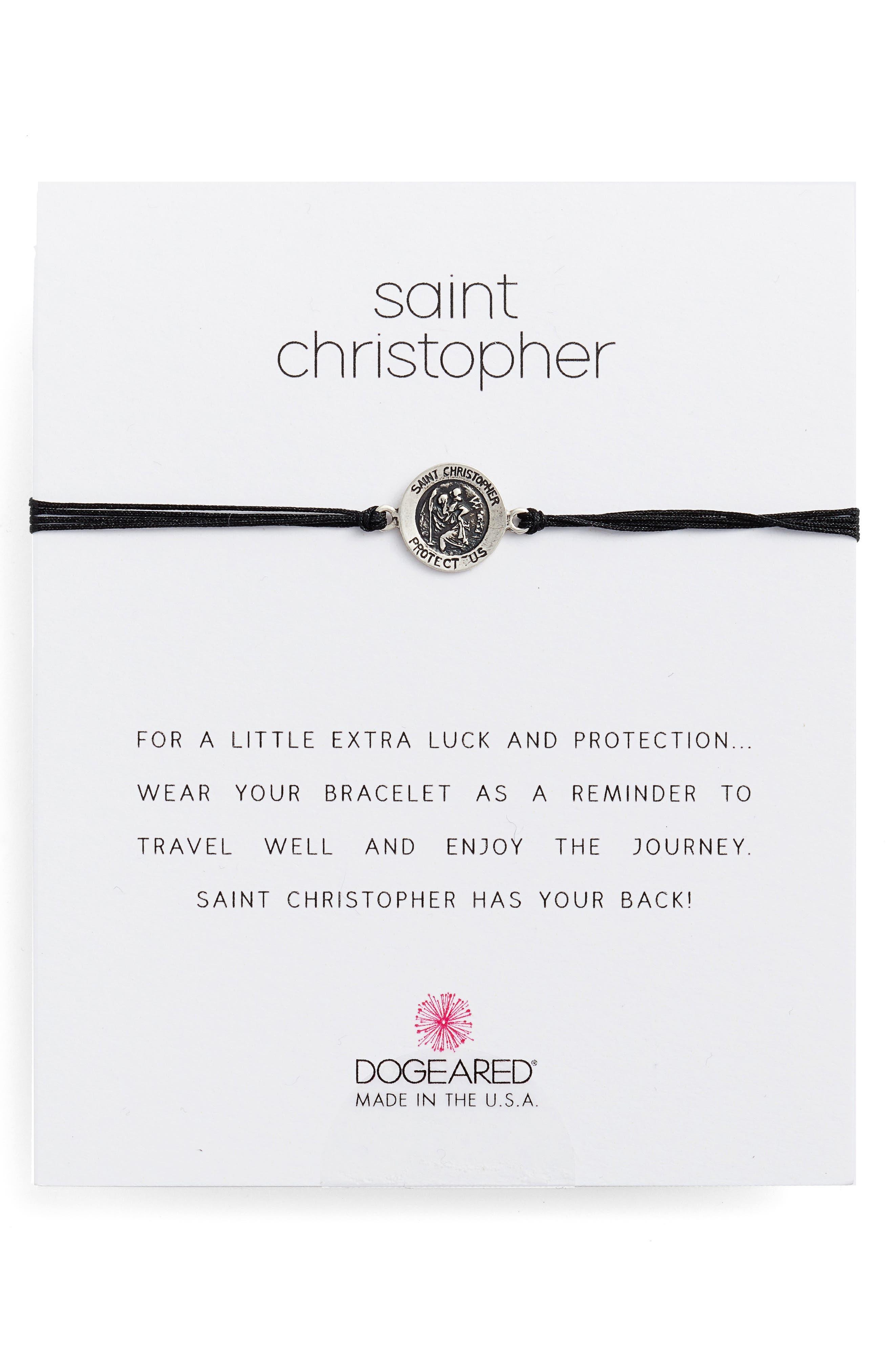 Saint Christopher Pull Bracelet,                             Main thumbnail 1, color,                             Black/ Silver