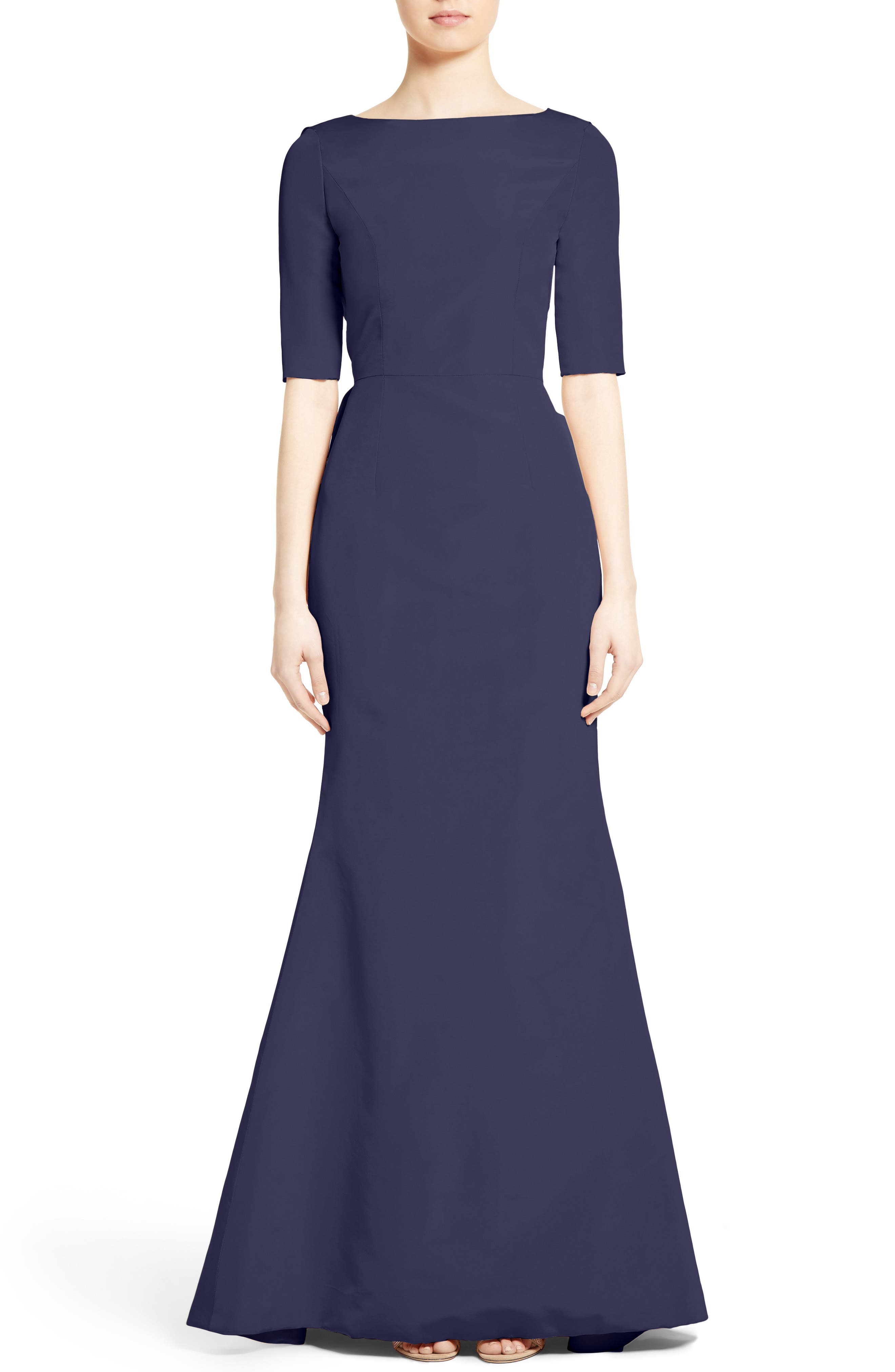 Draped V-Back Gown,                         Main,                         color, Navy