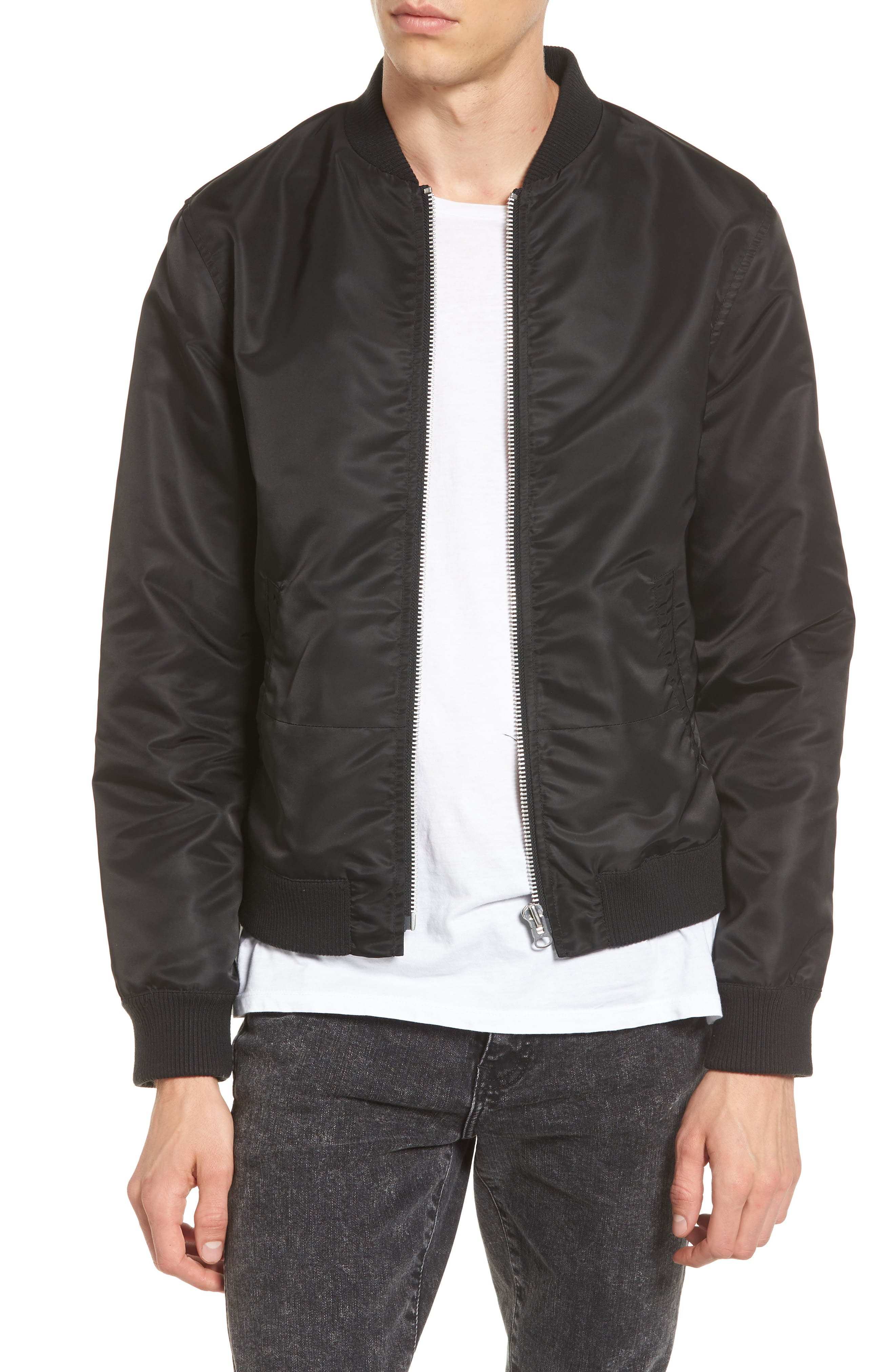 Mixed Media Bomber Jacket,                         Main,                         color, Noir