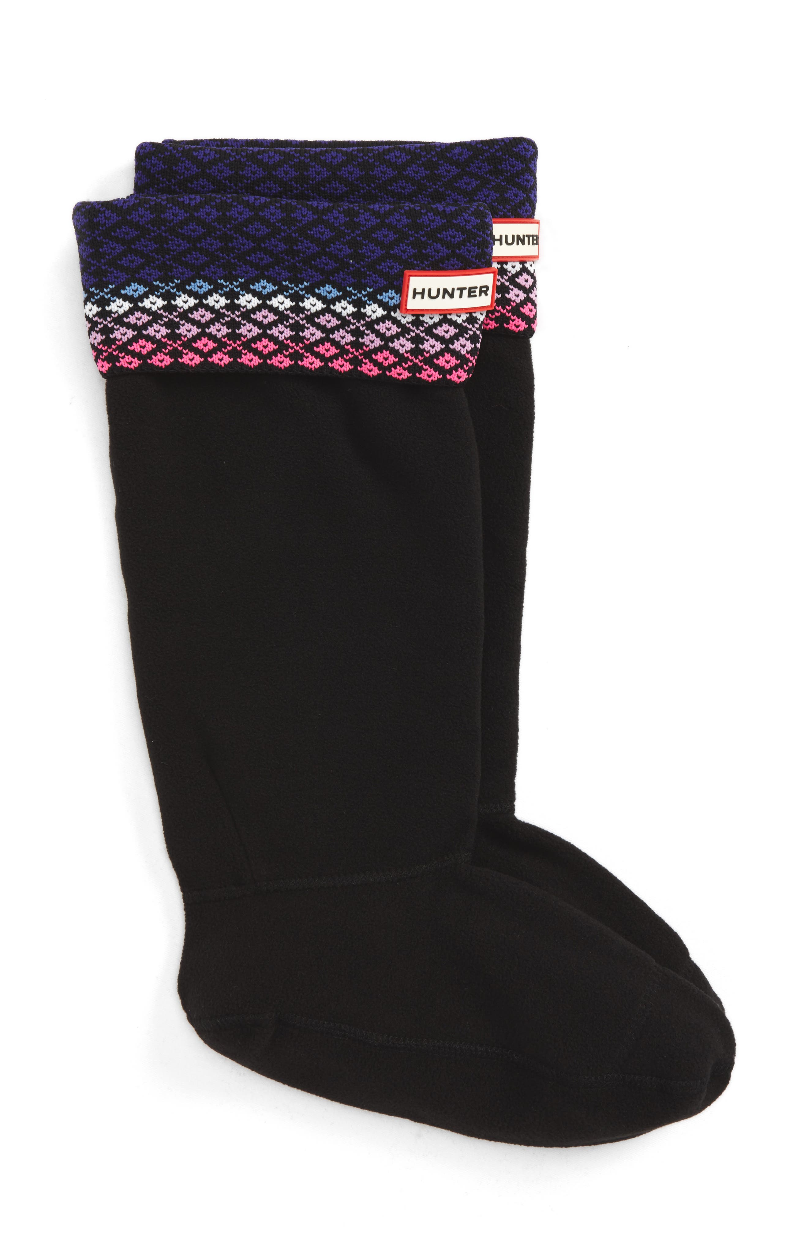 Tall Fair Isle Boot Socks,                         Main,                         color, Neptune/ Ion Pink