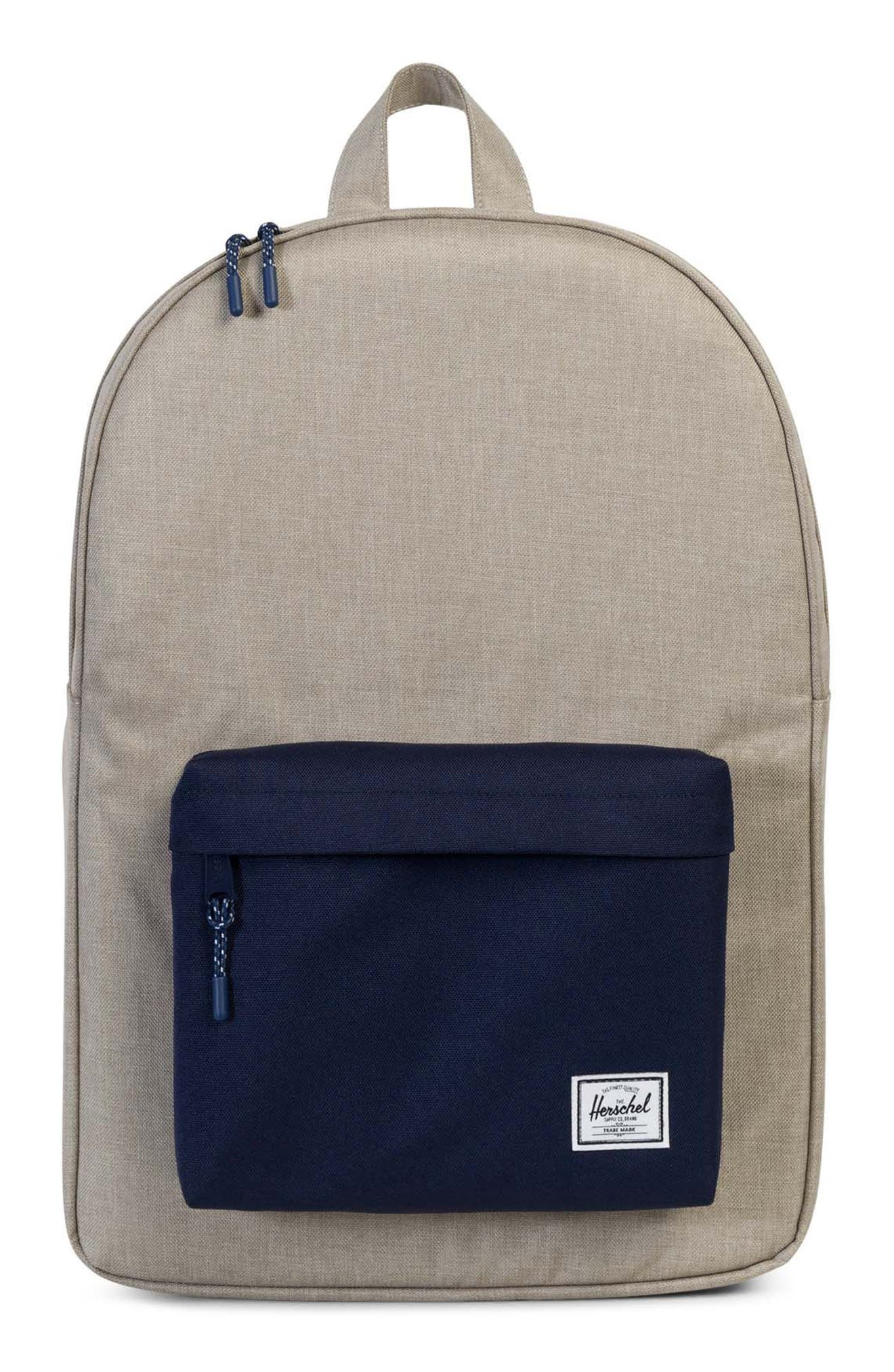 Classic Backpack,                         Main,                         color, Light Khaki Crosshatch