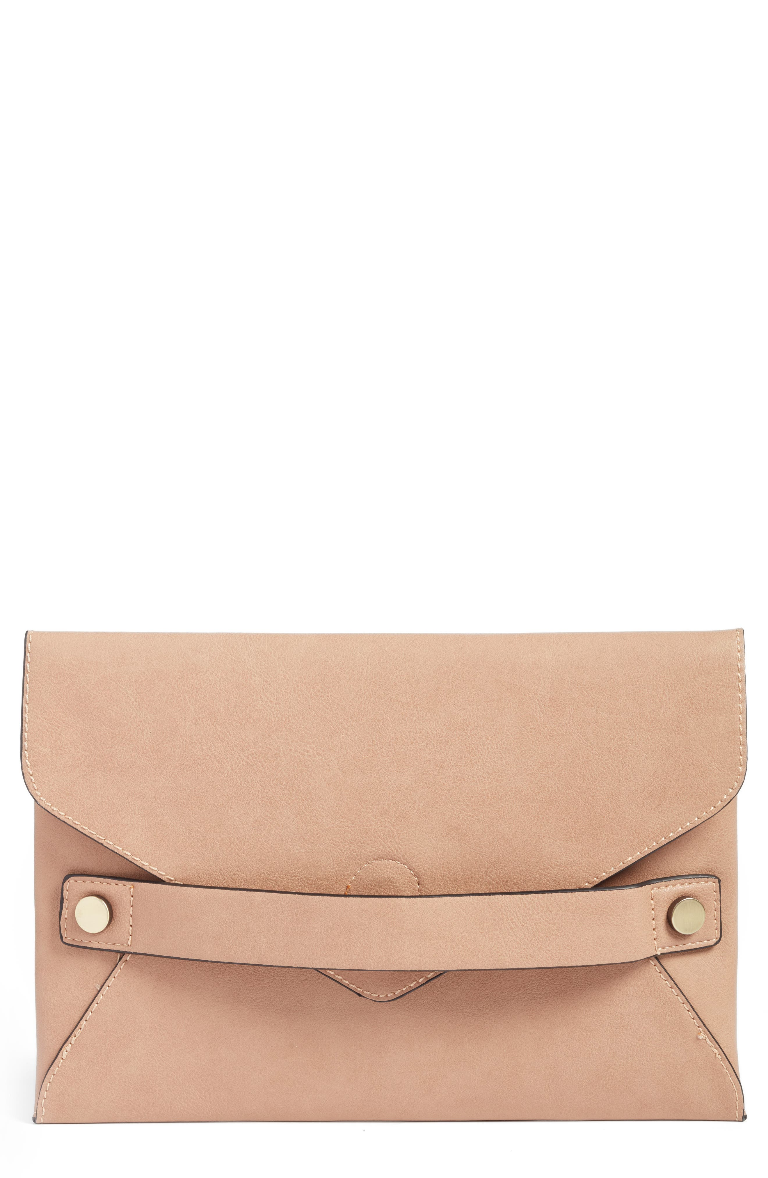 Main Image - Sole Society Karen Faux Leather Envelope Clutch