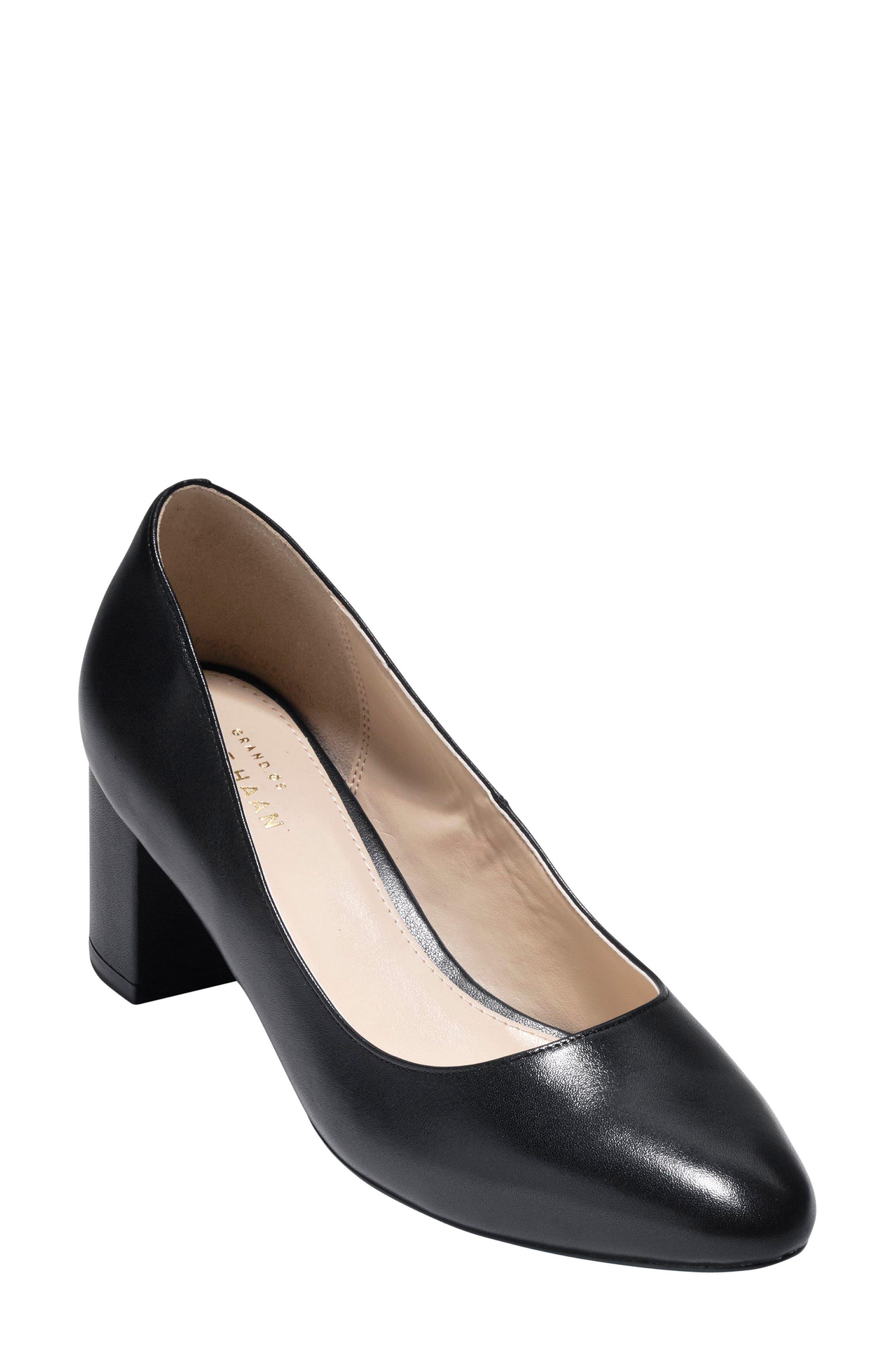 Justine Block Heel Pump,                         Main,                         color, Black Leather