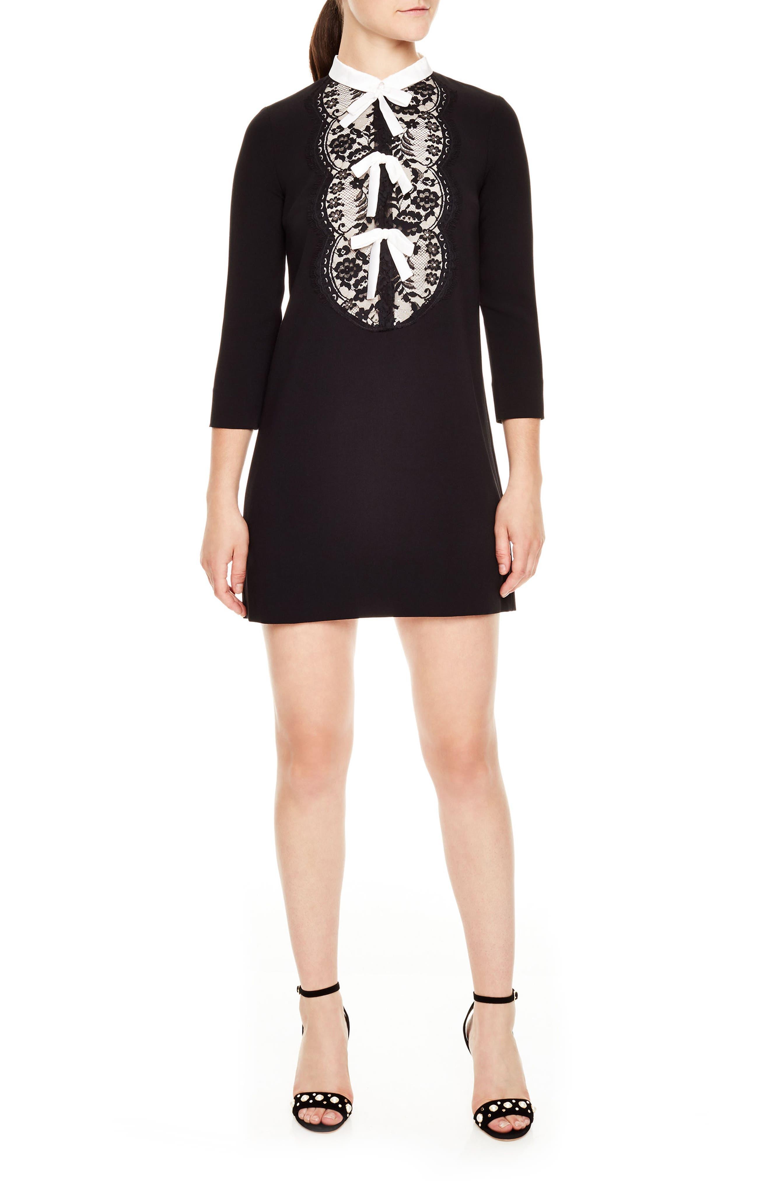 Delfina Lace Bib Shift Dress,                             Main thumbnail 1, color,                             Black