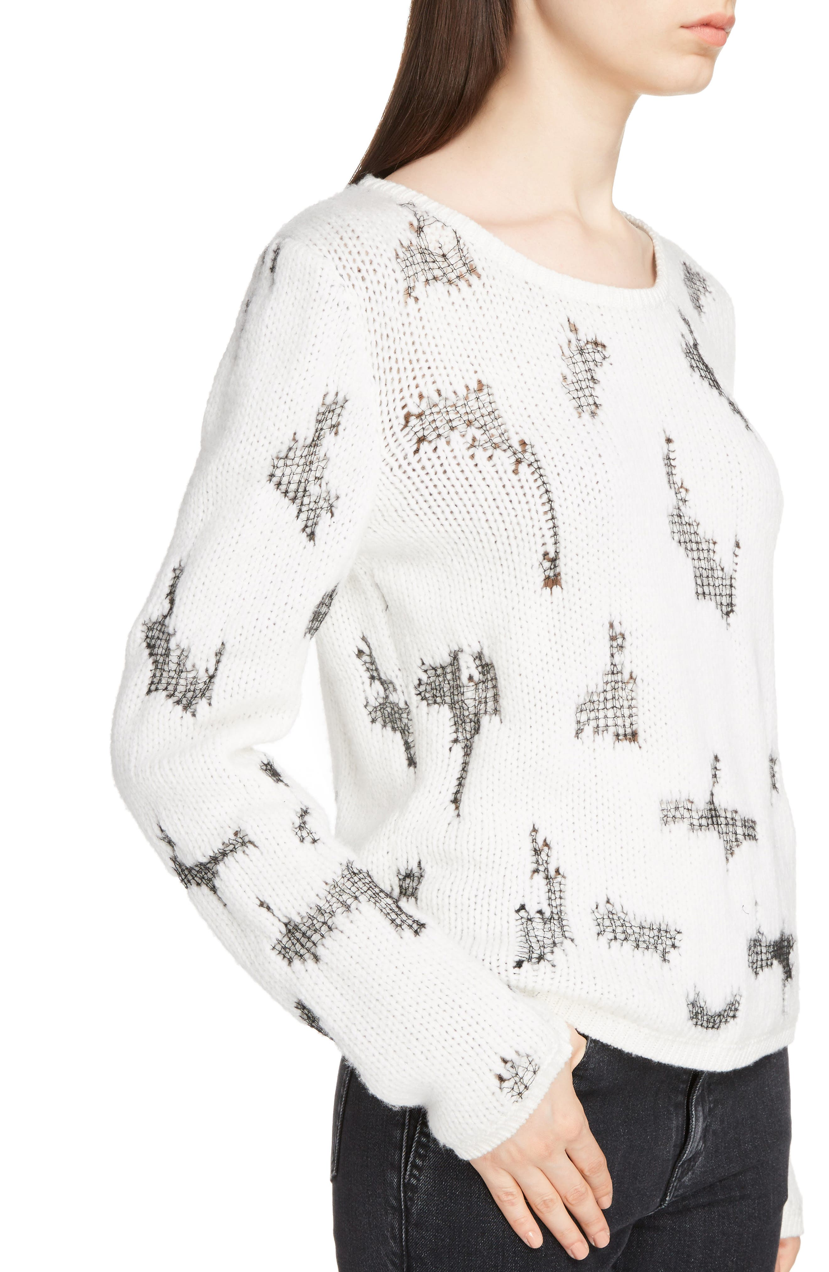 Distressed Cashmere Blend Sweater,                             Alternate thumbnail 4, color,                             Naturel/ Noir