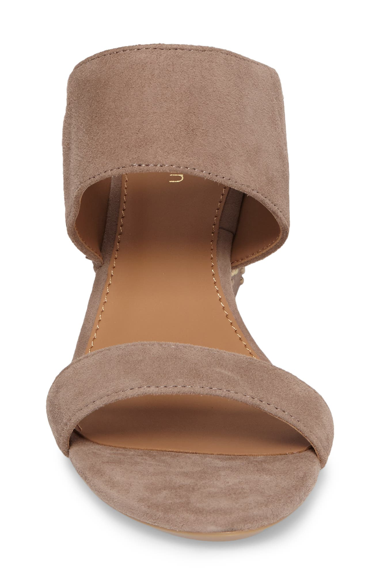 Phyllis Studded Wedge Sandal,                             Alternate thumbnail 4, color,                             Winter Taupe Suede