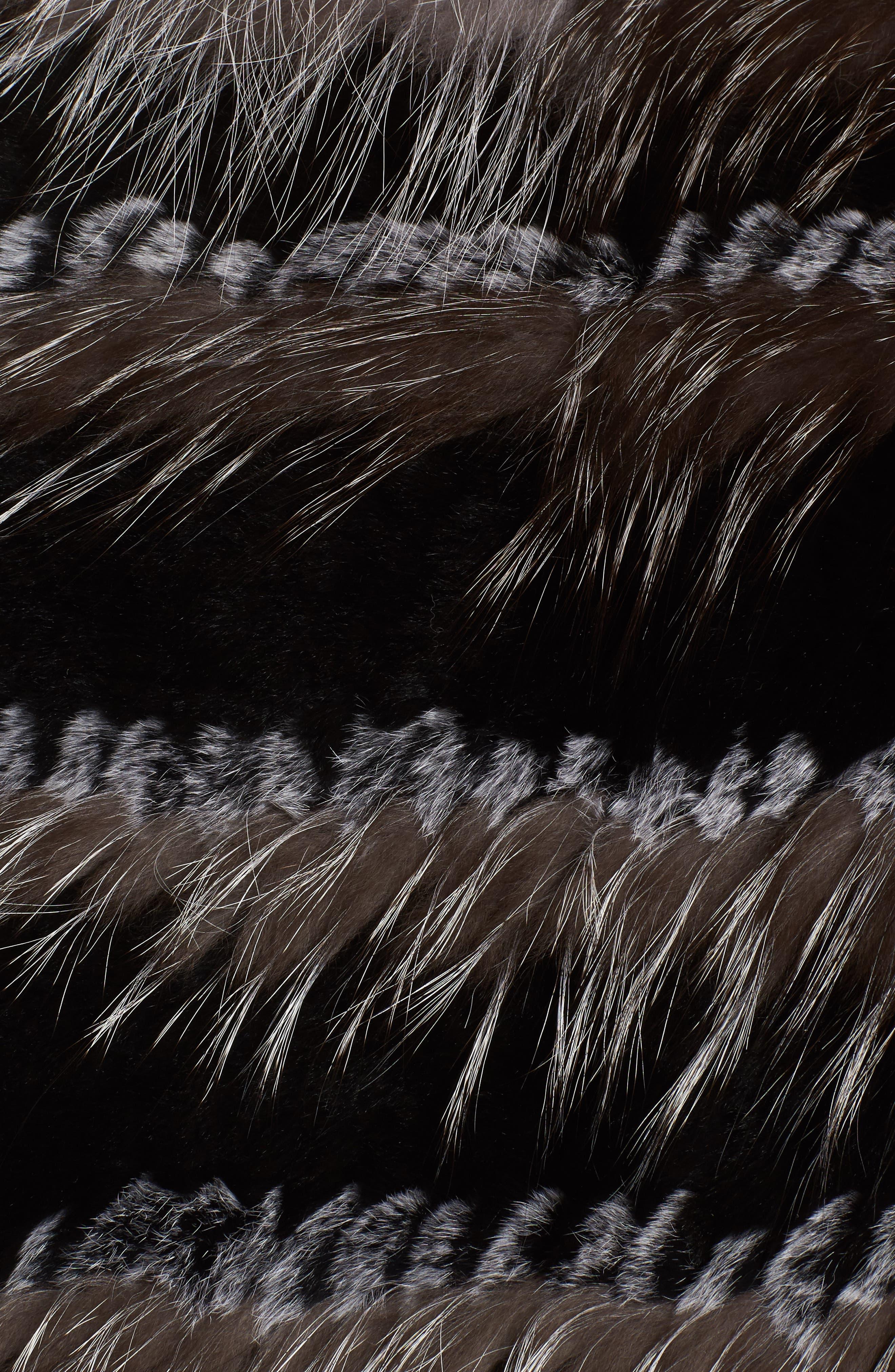 Genuine Fox & Rabbit Fur Poncho,                             Alternate thumbnail 5, color,                             Natural
