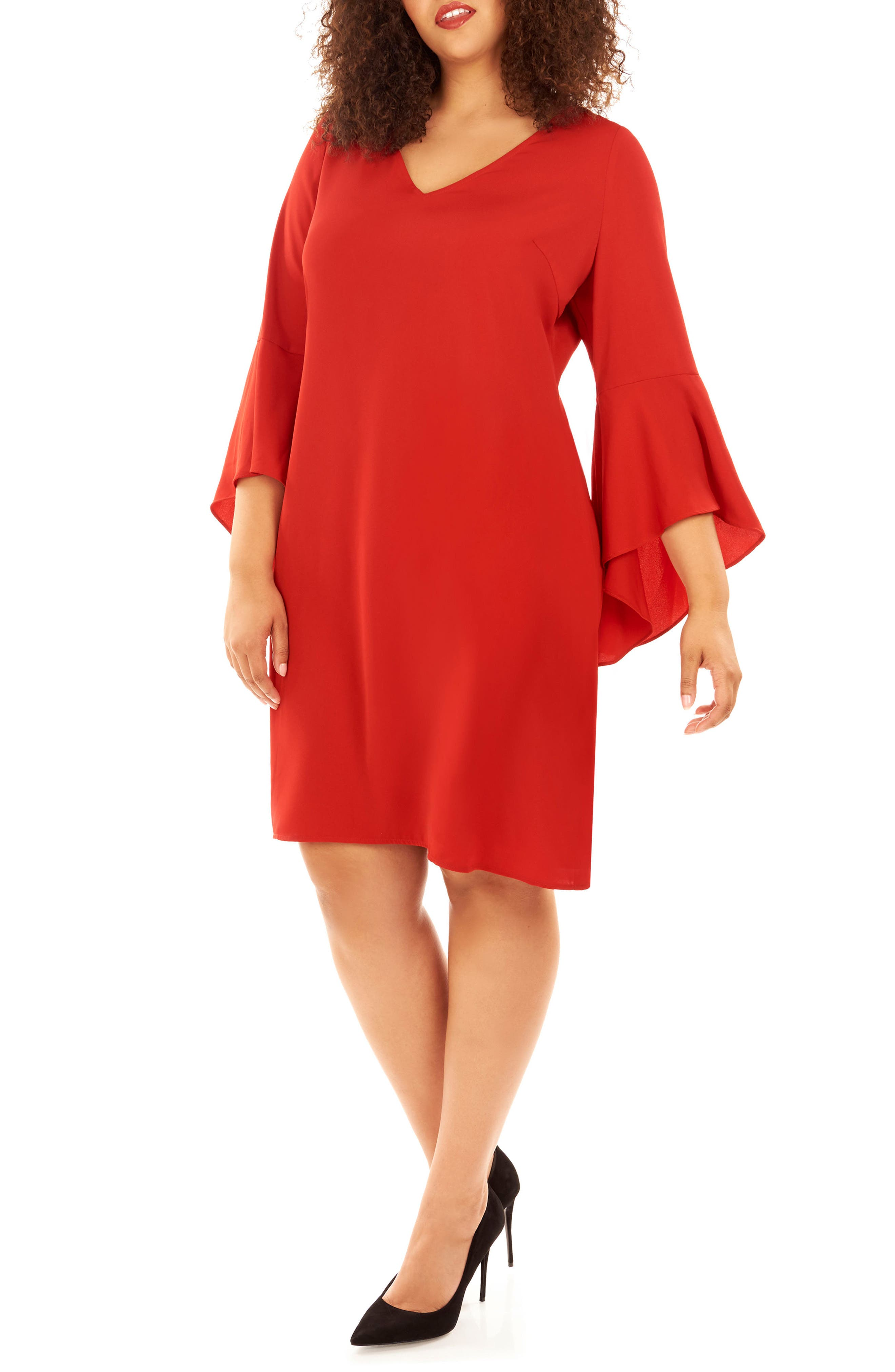 Bell Sleeve Shift Dress,                         Main,                         color, Haute Red