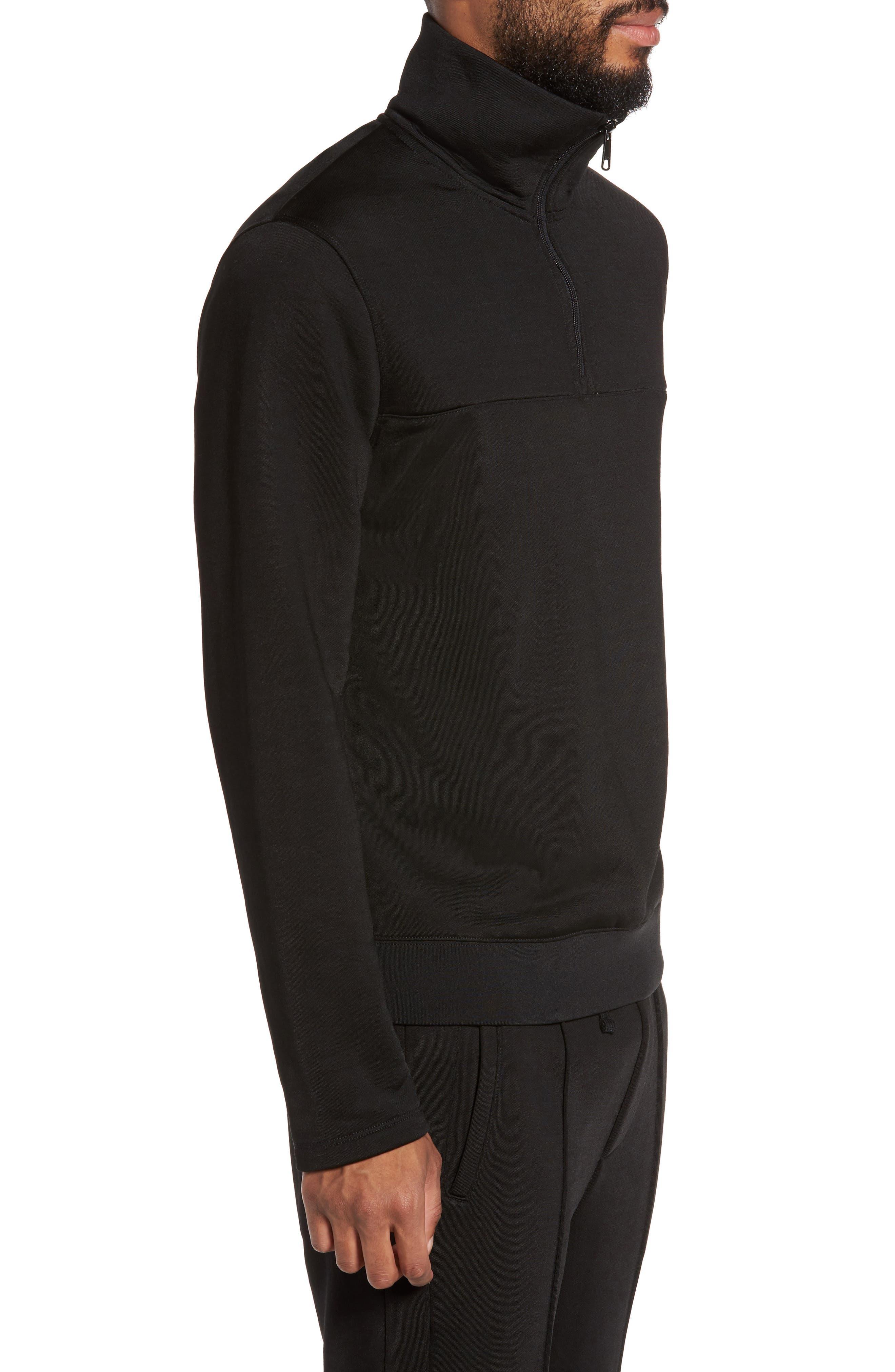 Quarter Zip Pullover,                             Alternate thumbnail 3, color,                             Black