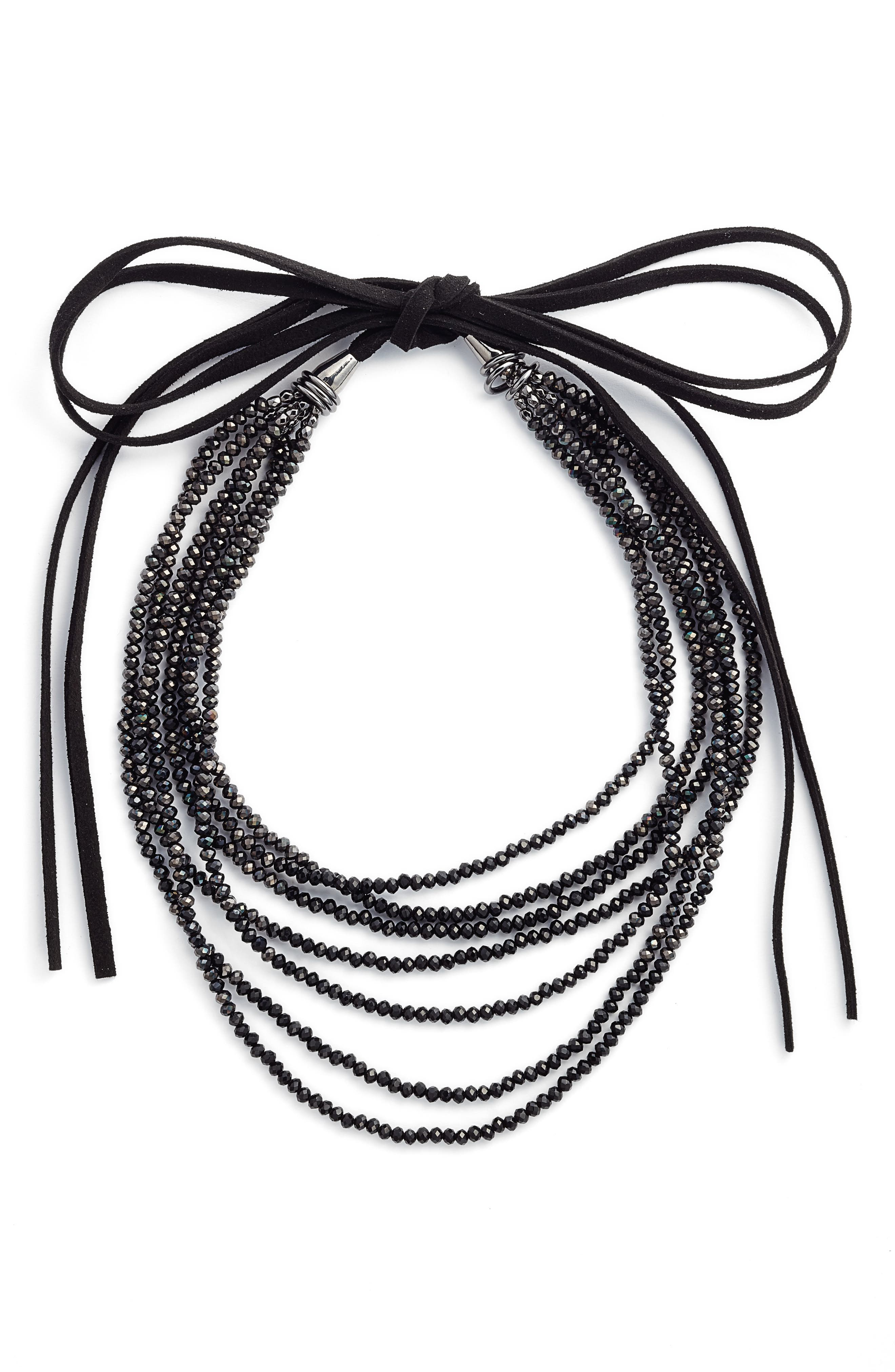 CRISTABELLE Crystal Beaded Tie Necklace