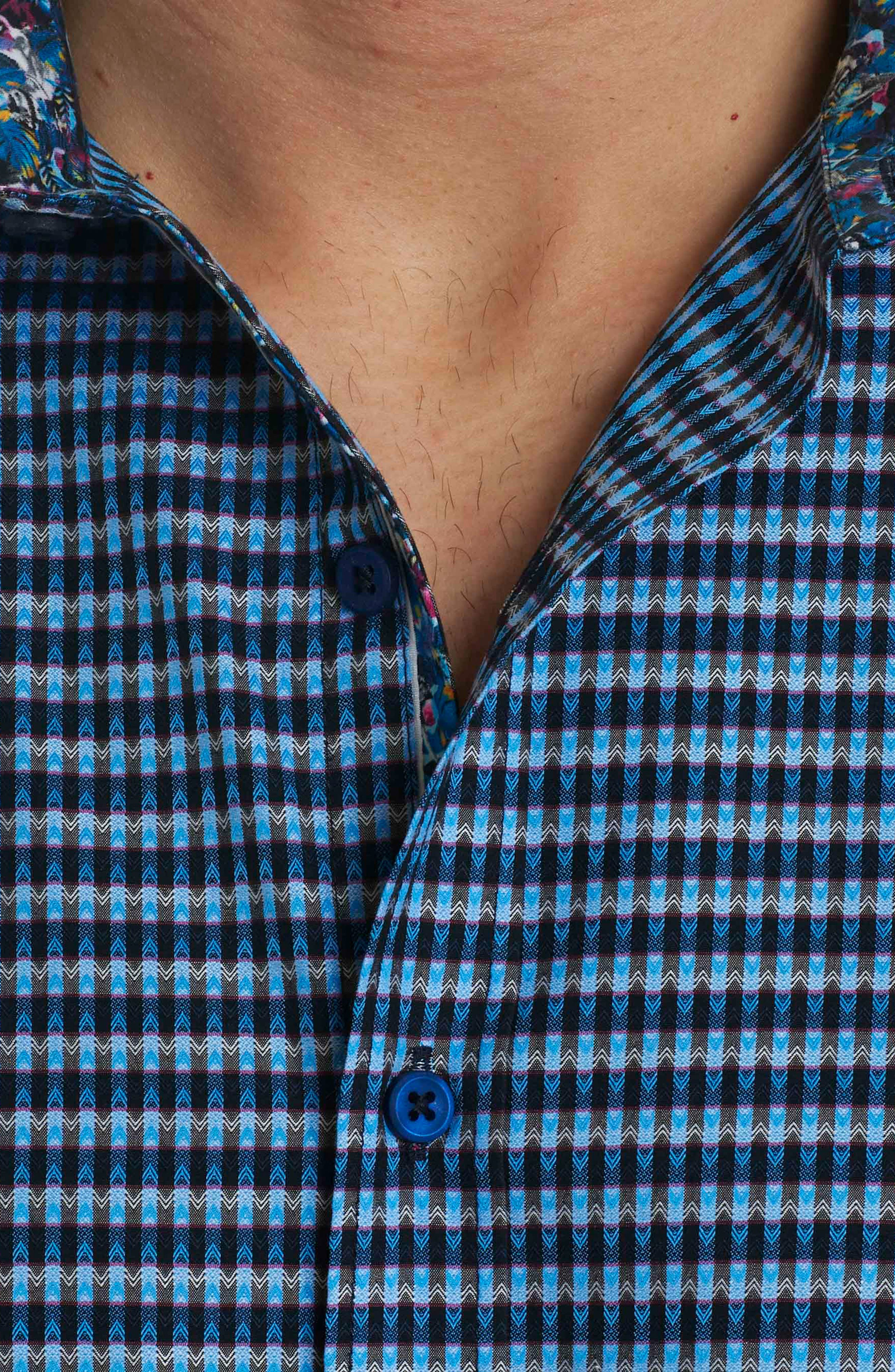 Hill Punch Classic Fit Print Sport Shirt,                             Alternate thumbnail 6, color,                             Navy