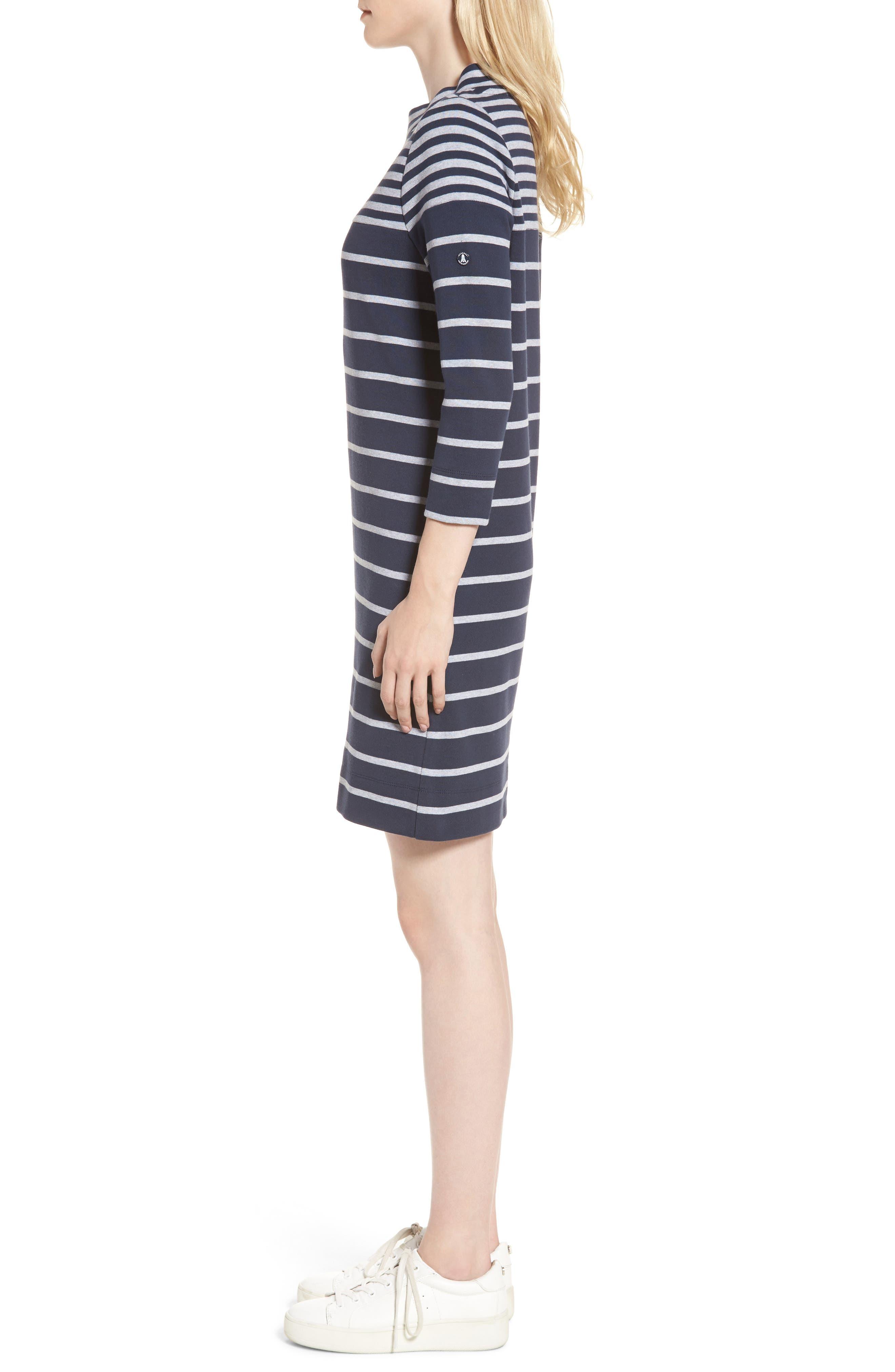 Seaburn Stripe Shift Dress,                             Alternate thumbnail 3, color,                             Navy