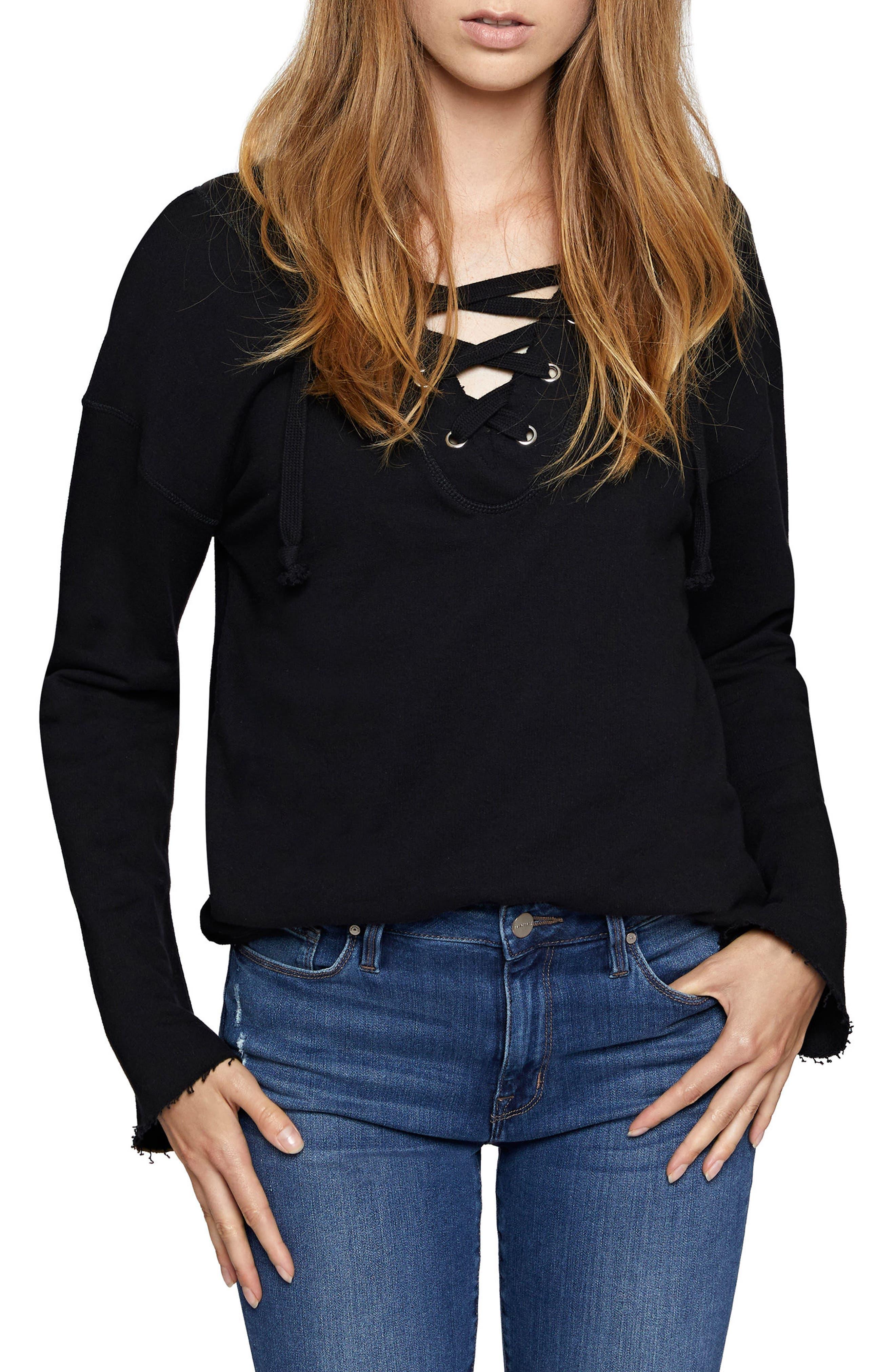 Sanctuary Shipley Lace-Up Sweatshirt (Regular & Petite)