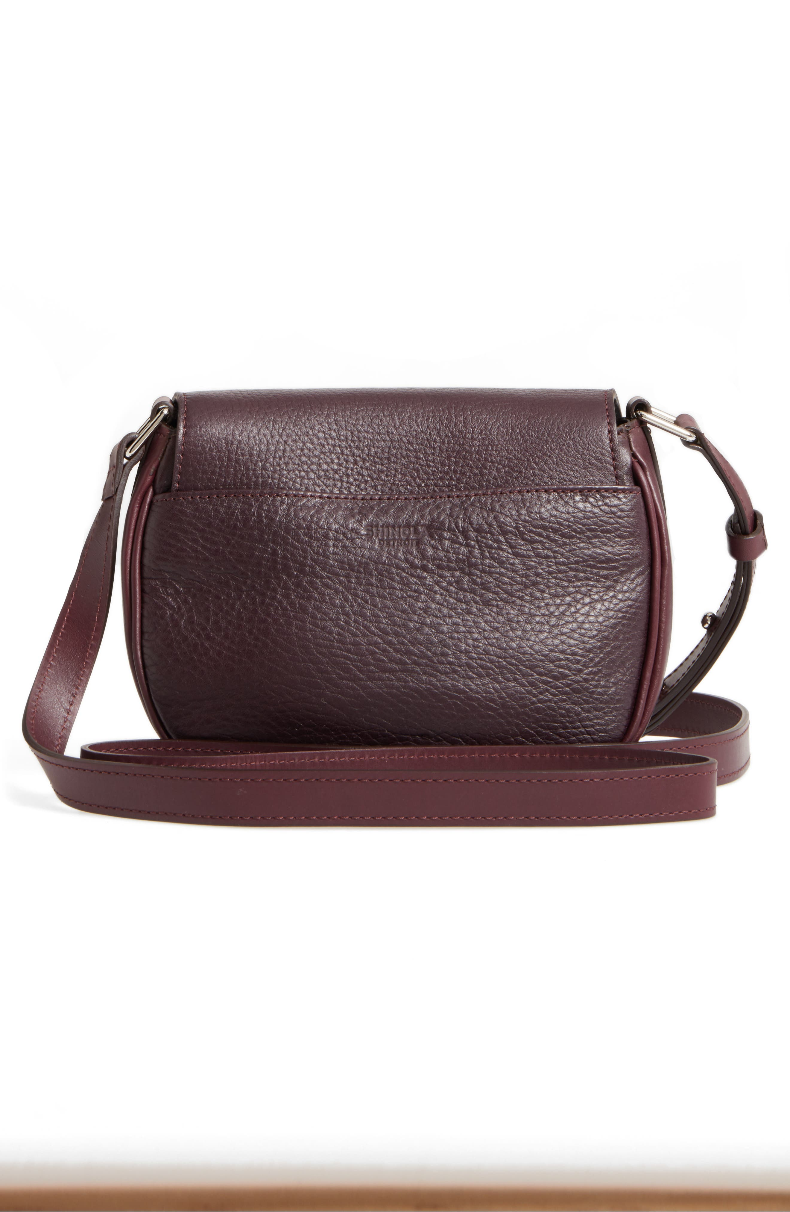 Calfskin Leather Shoulder Bag,                             Alternate thumbnail 3, color,                             Aubergine