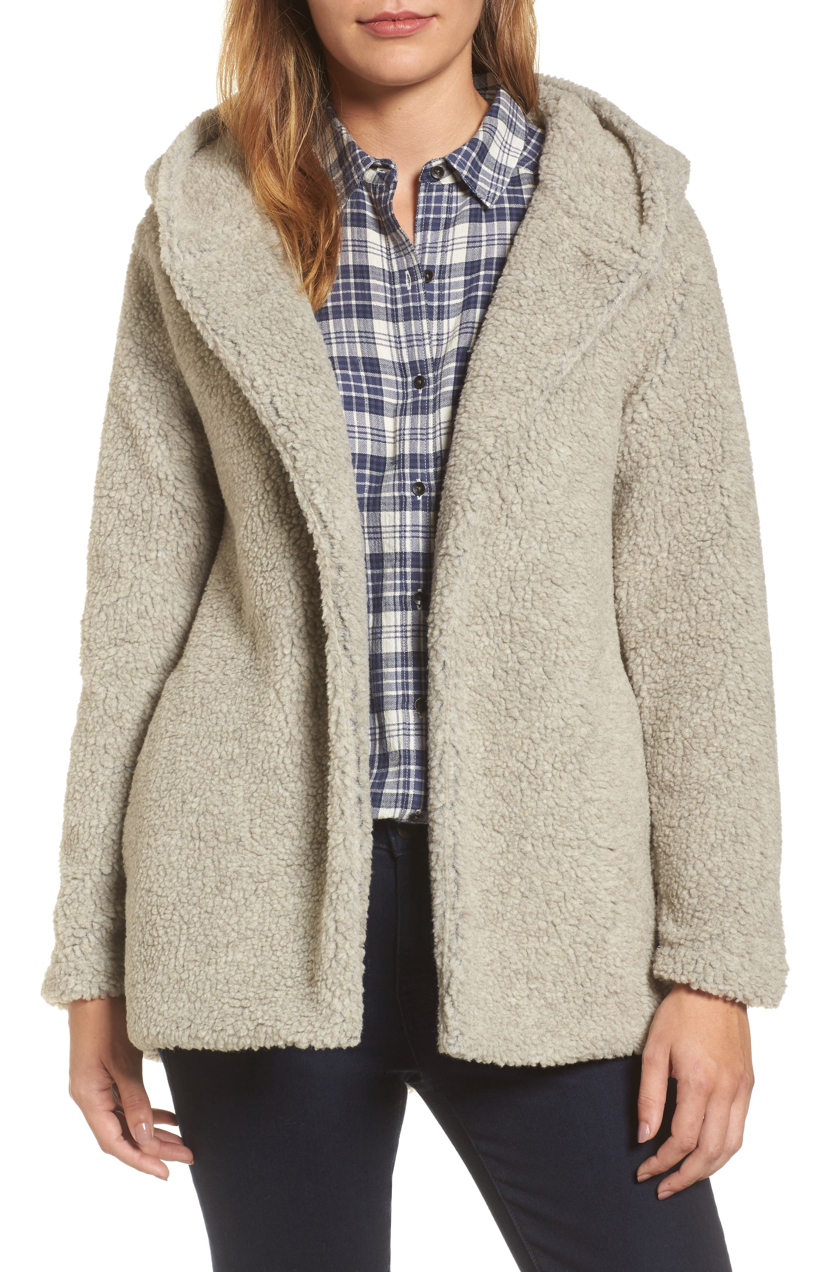 Hooded Faux Fur Jacket,                         Main,                         color, Oatmeal