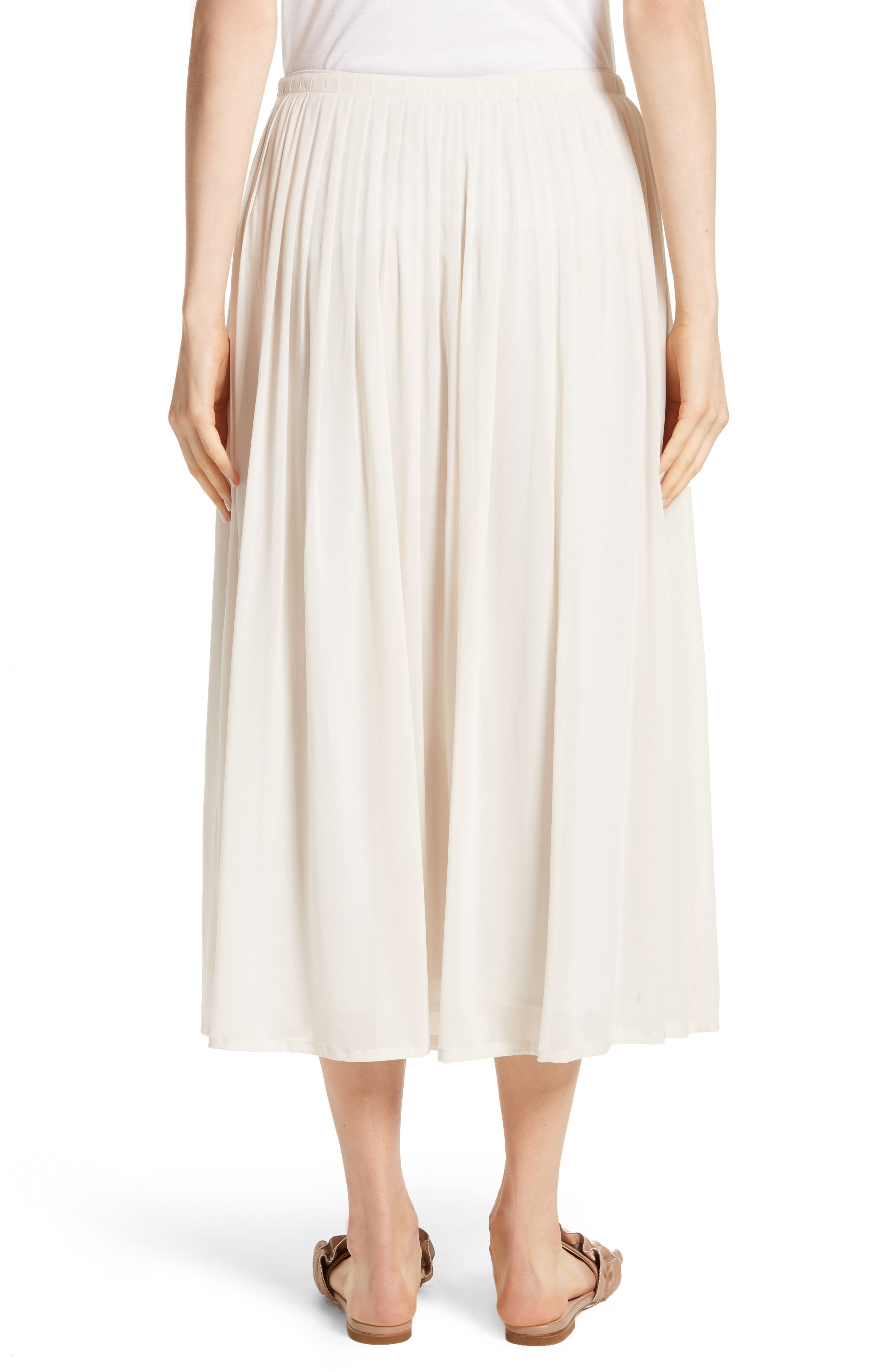 Pleated Chiffon Midi Skirt,                             Alternate thumbnail 3, color,                             Ecru