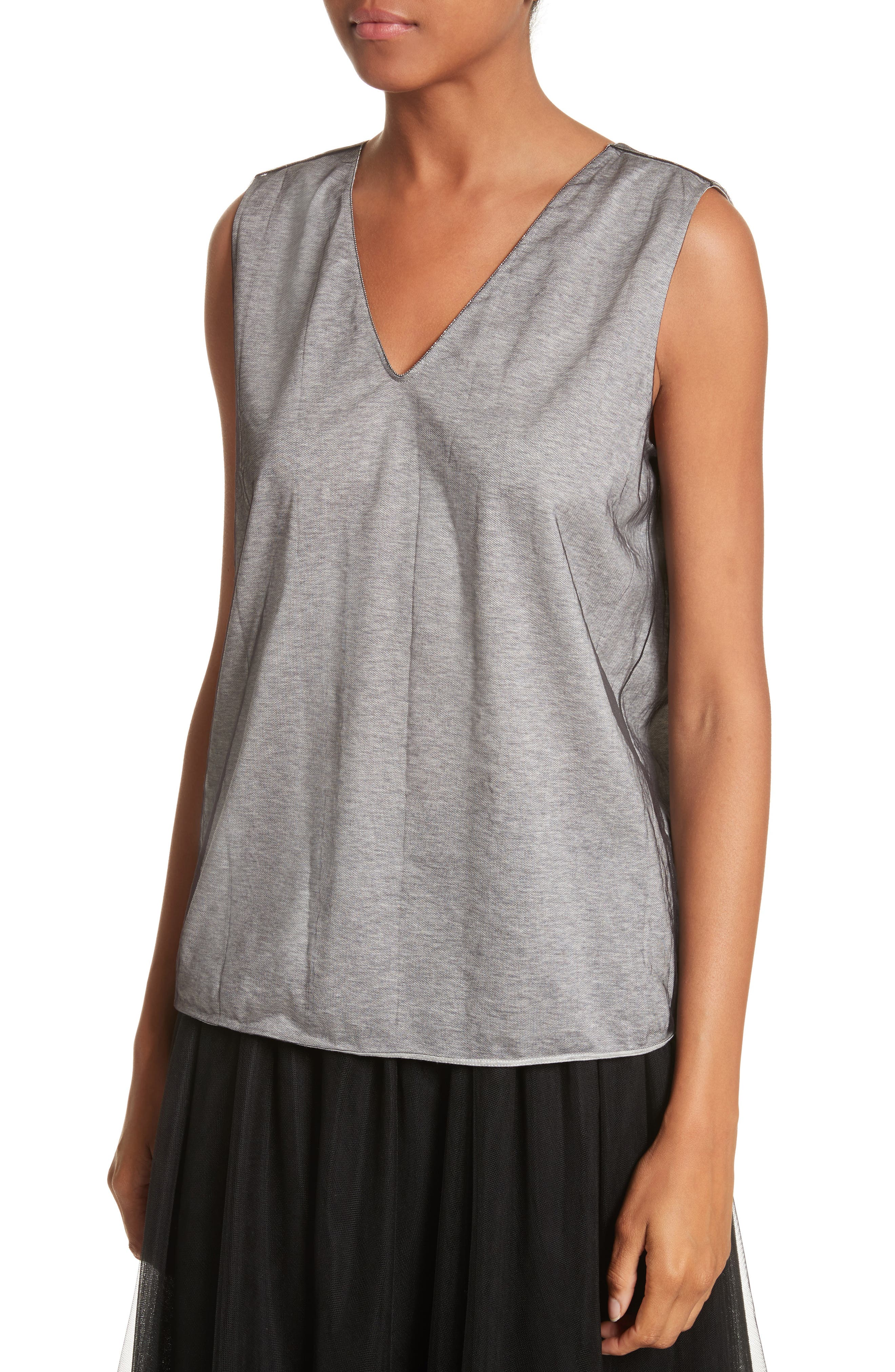 Tulle Overlay Jersey Tank,                             Alternate thumbnail 4, color,                             Grey