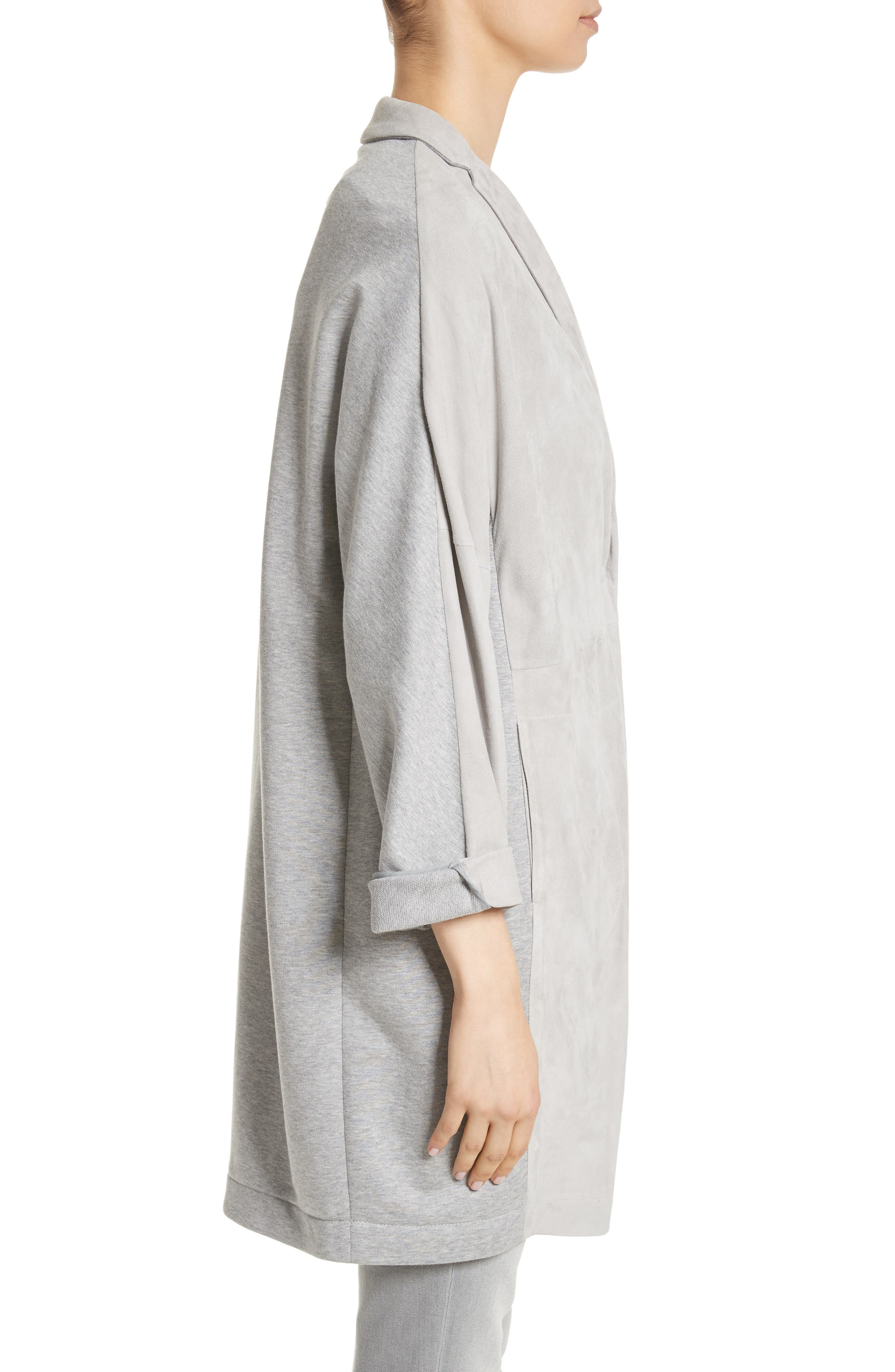 Suede Front Jersey Jacket,                             Alternate thumbnail 3, color,                             Grey