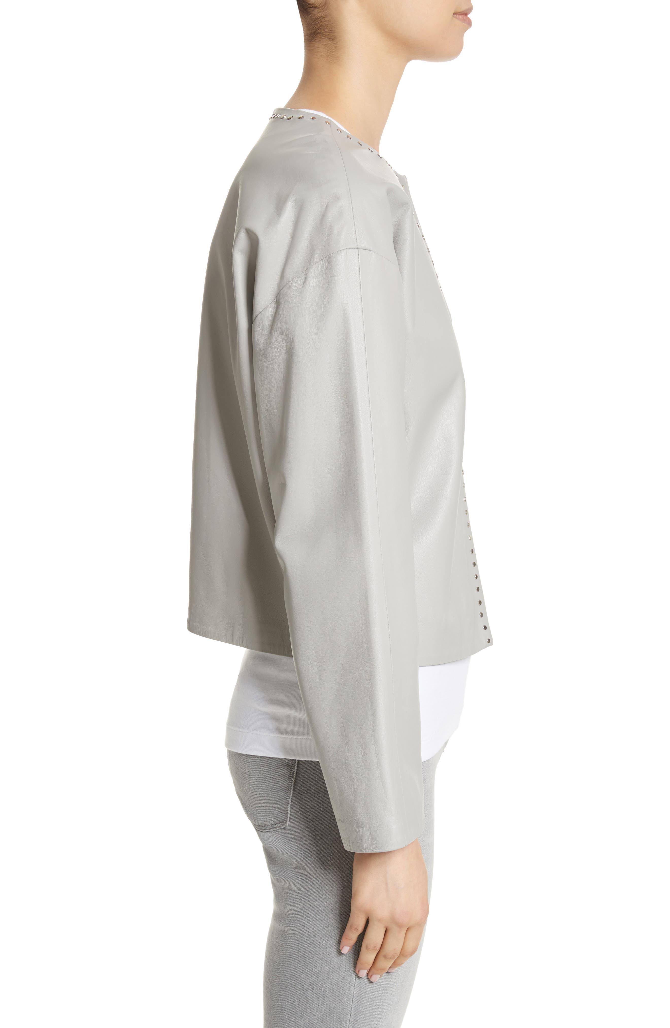 Studded Nappa Leather Jacket,                             Alternate thumbnail 3, color,                             Grey