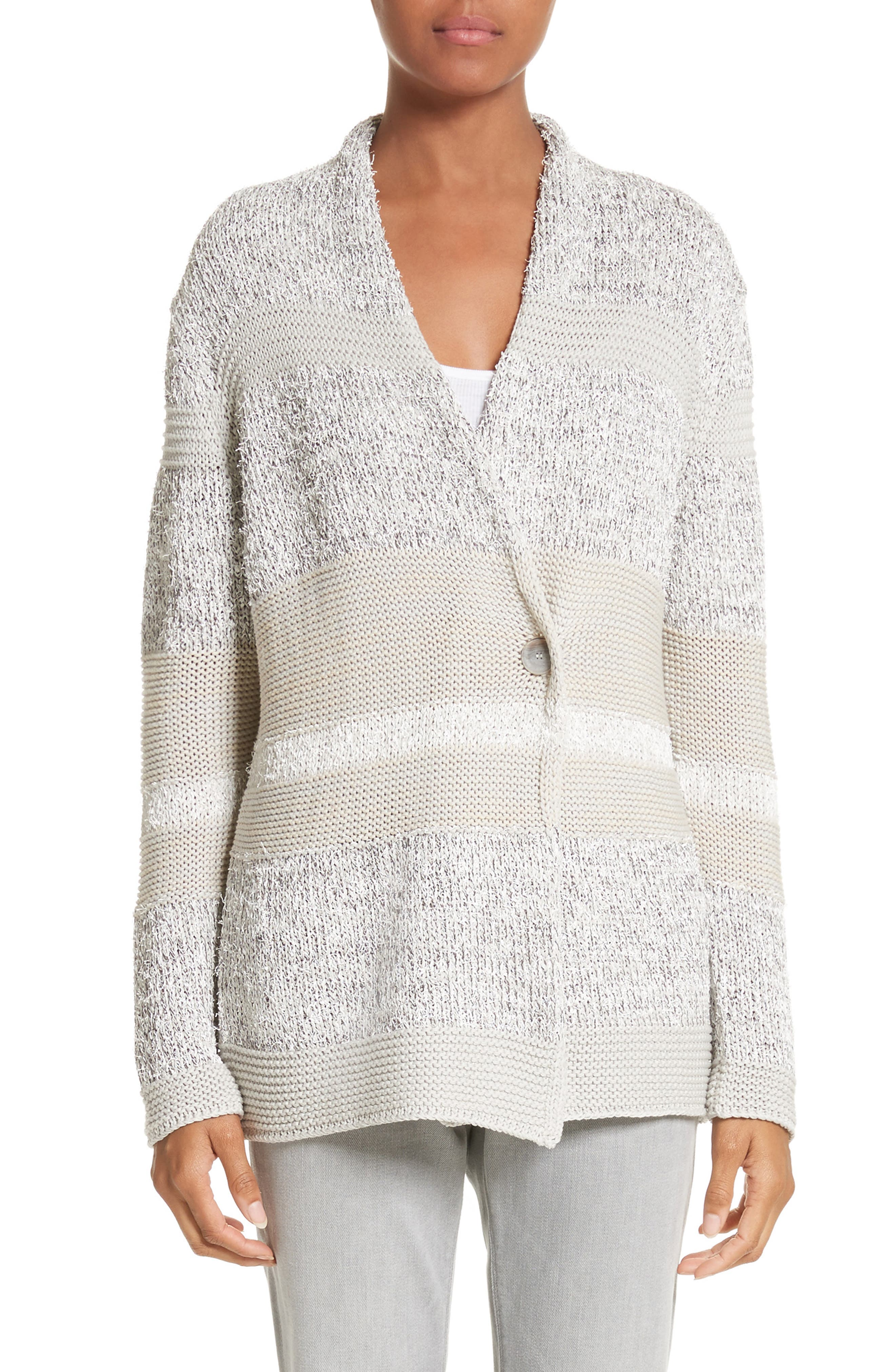 Main Image - Fabiana Filippi Stripe Metallic Knit Cardigan
