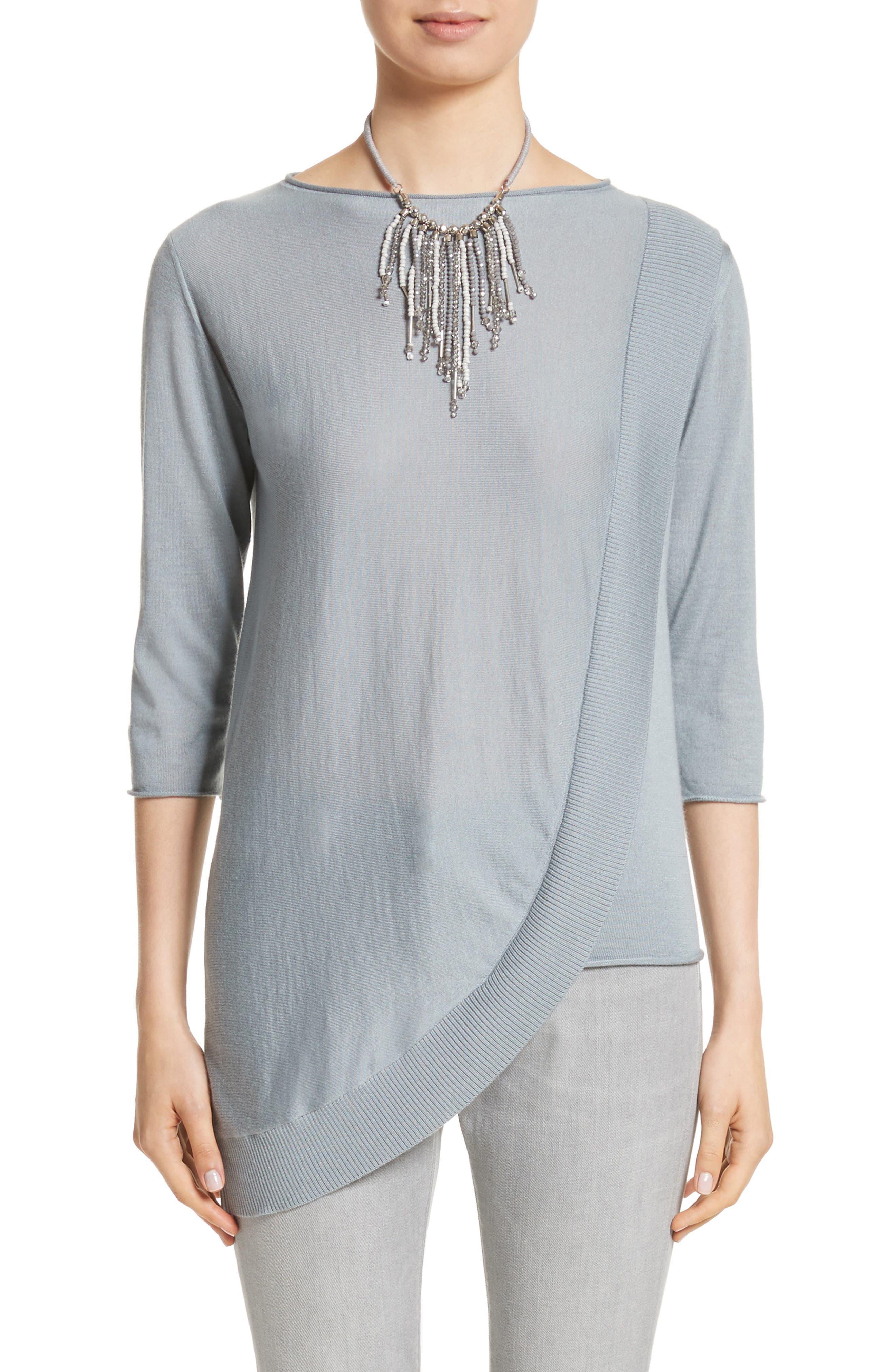 Cashmere & Silk Drape Sweater,                         Main,                         color, Dusty Blue