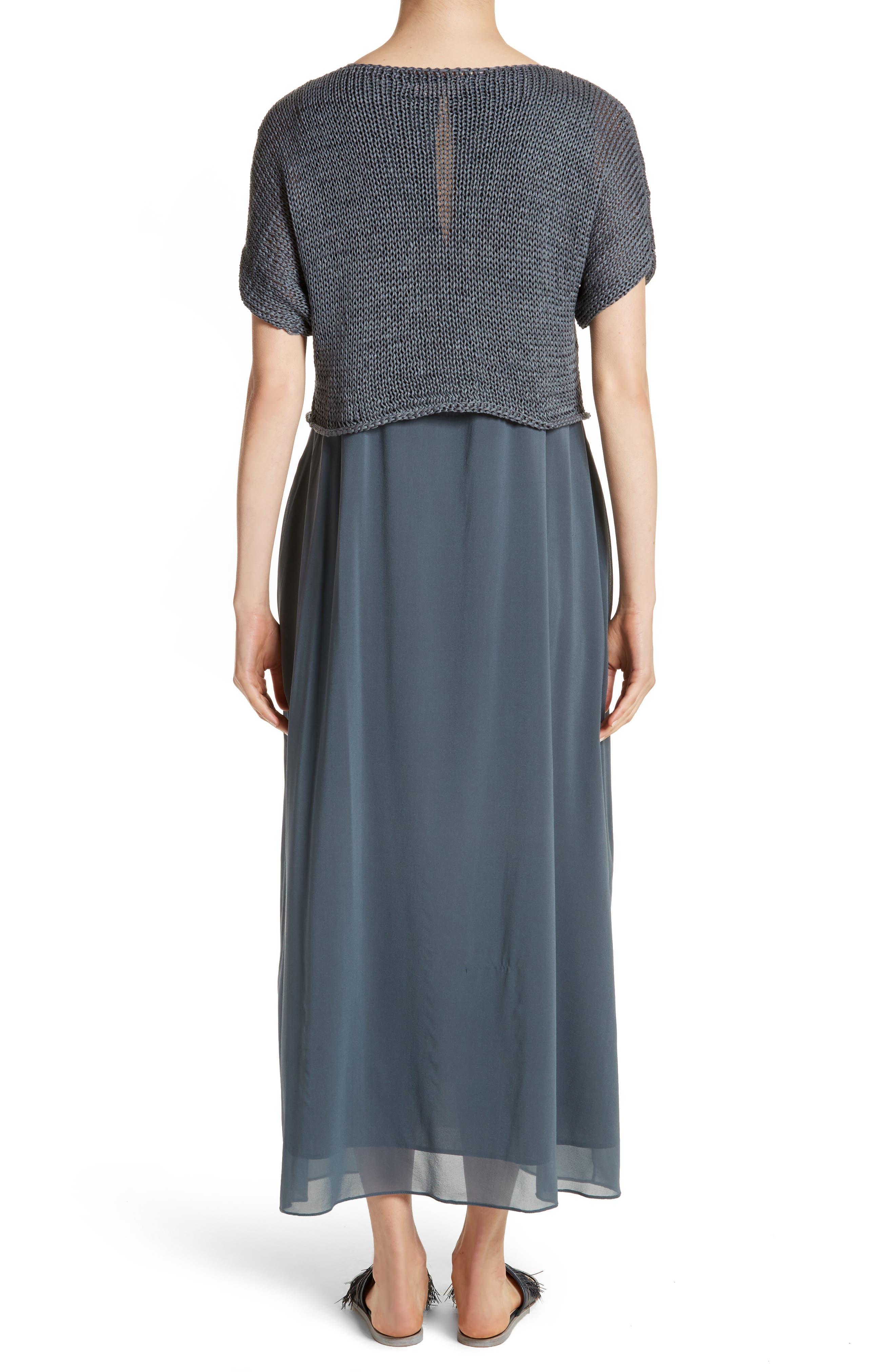 Knit Overlay Stretch Silk Dress,                             Alternate thumbnail 2, color,                             Slate