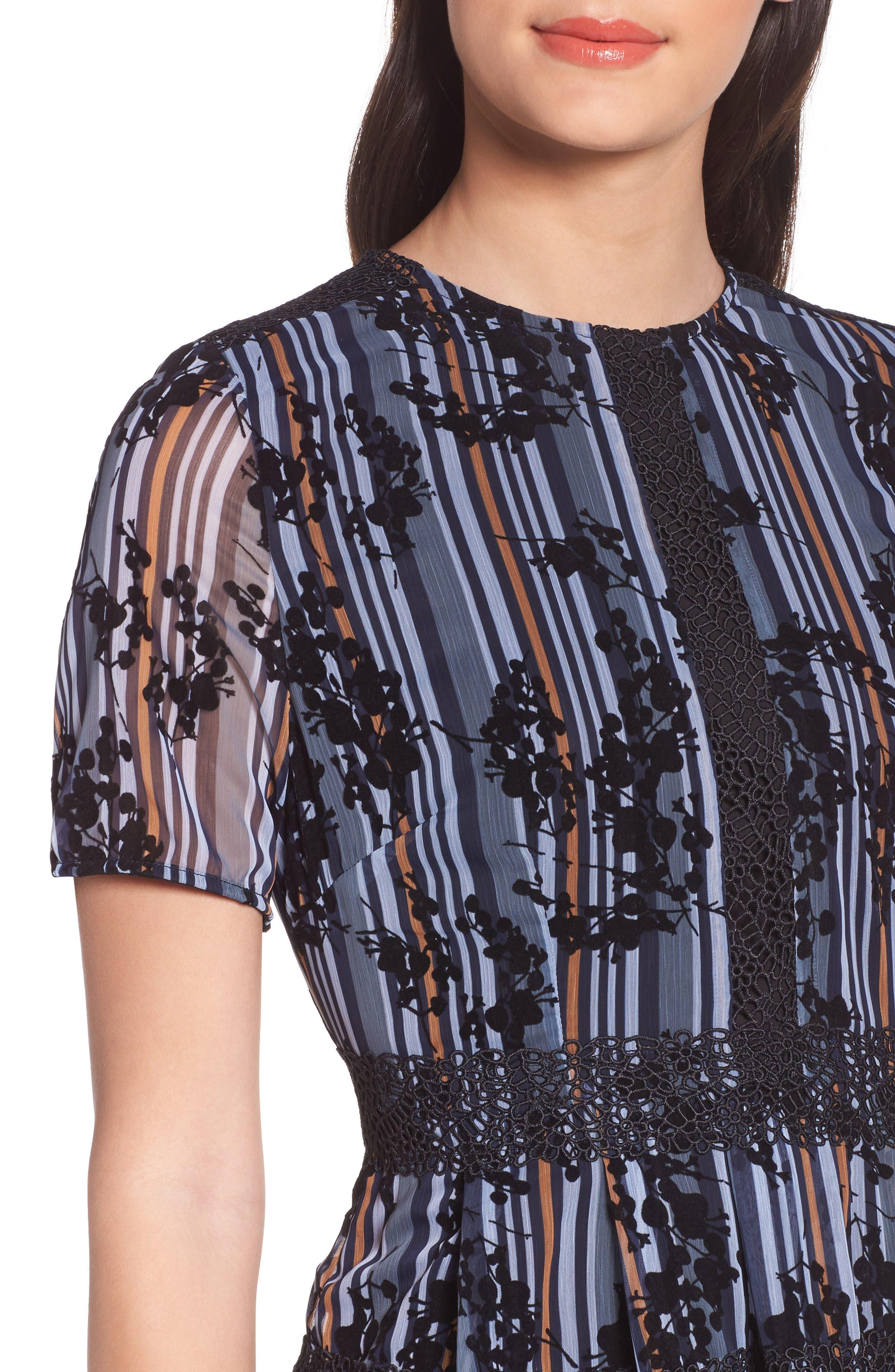 Stripe Minidress,                             Alternate thumbnail 4, color,                             Blue Floral Stripe