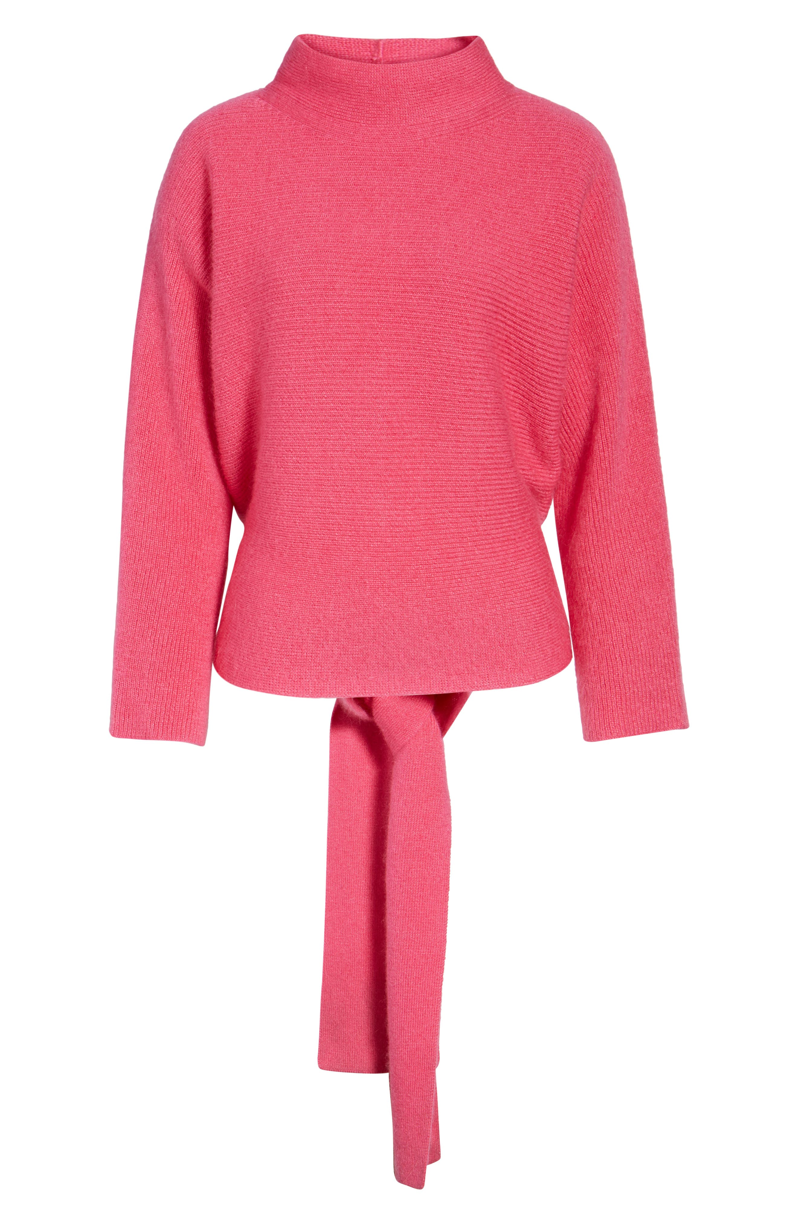 Tie Back Sweater,                             Alternate thumbnail 6, color,                             Pink Rouge