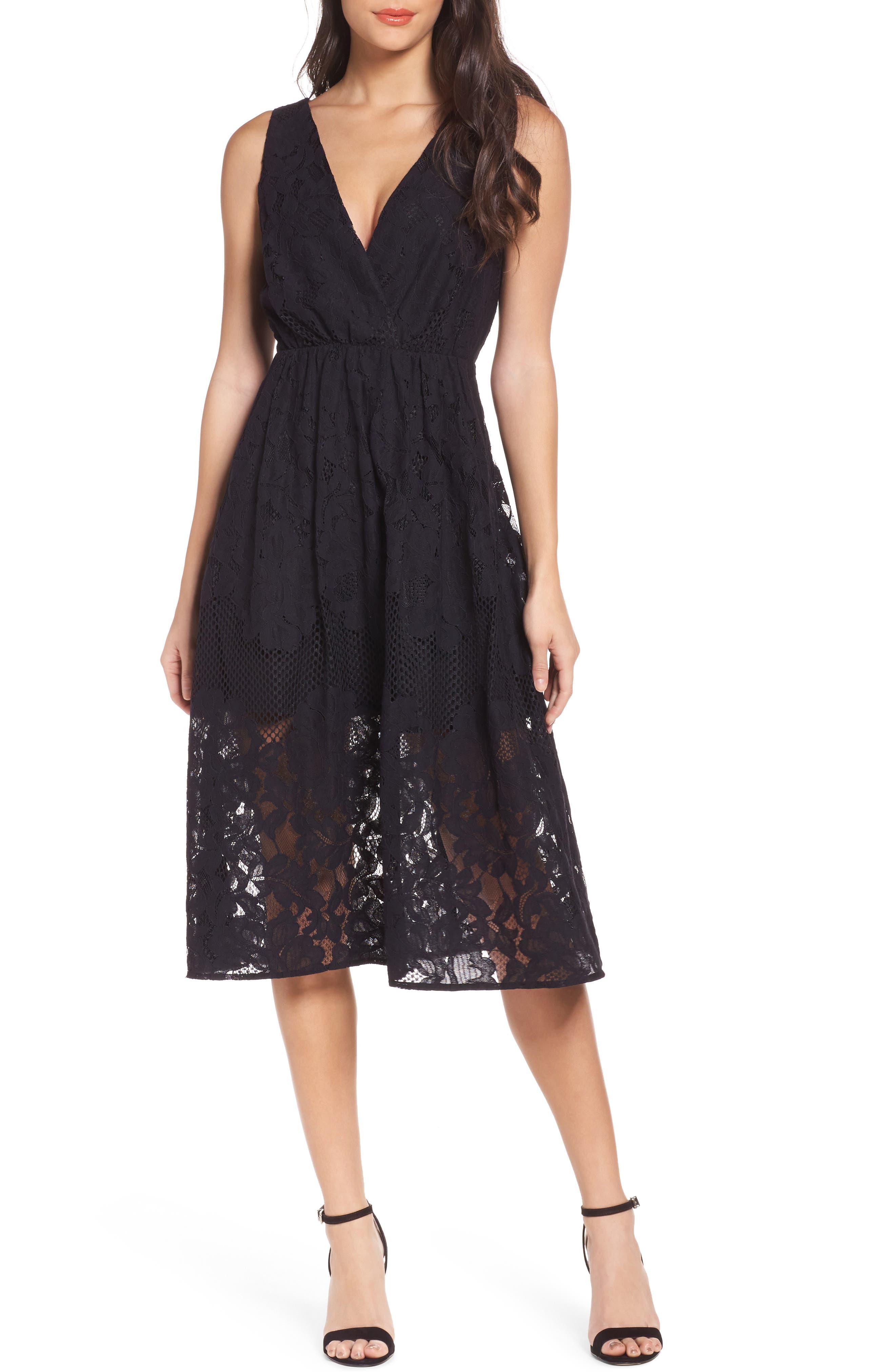 Palais Royal Lace A-Line Dress,                         Main,                         color, Black