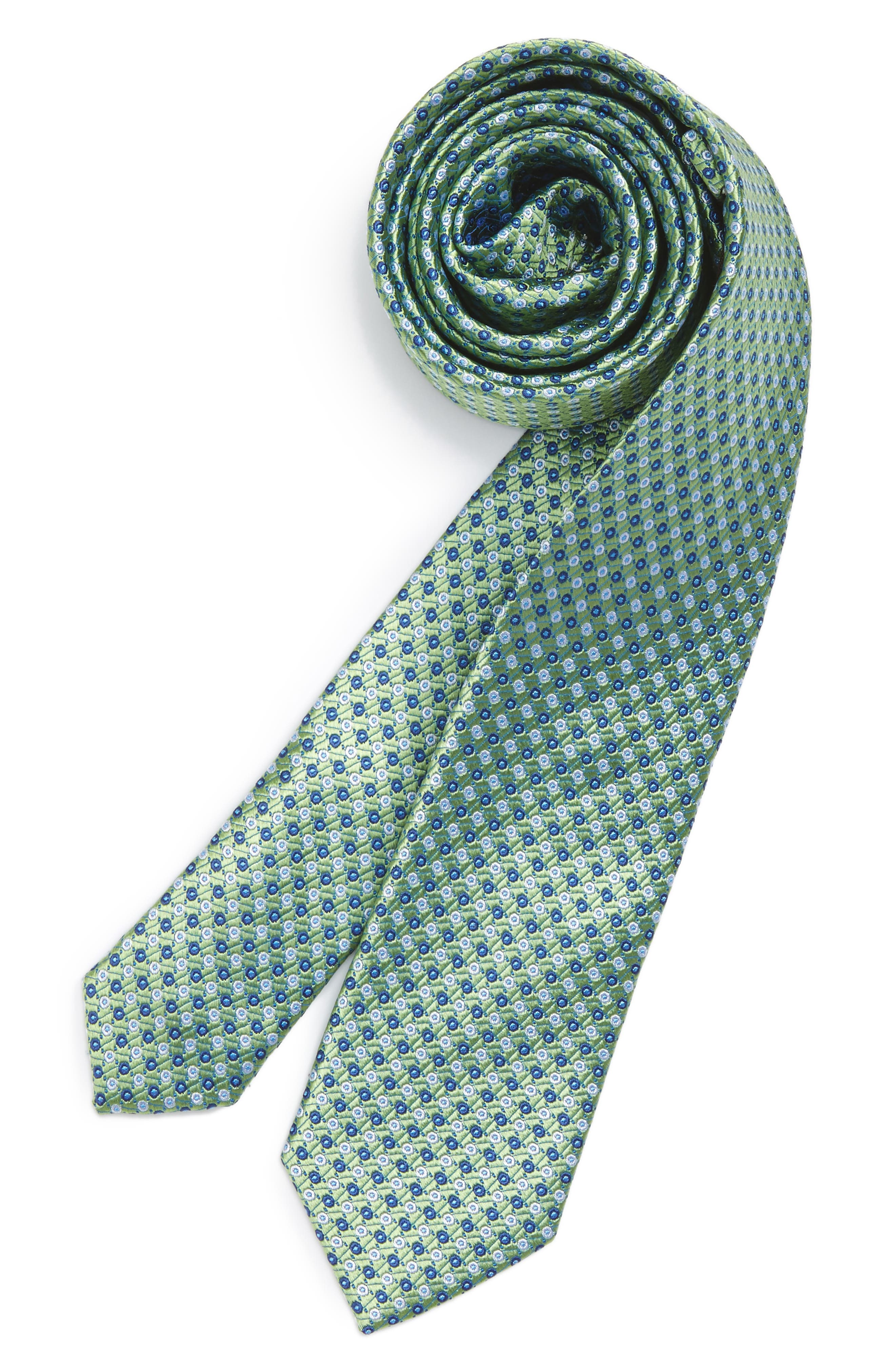 Dot Grid Silk Tie,                         Main,                         color, Green/Navy