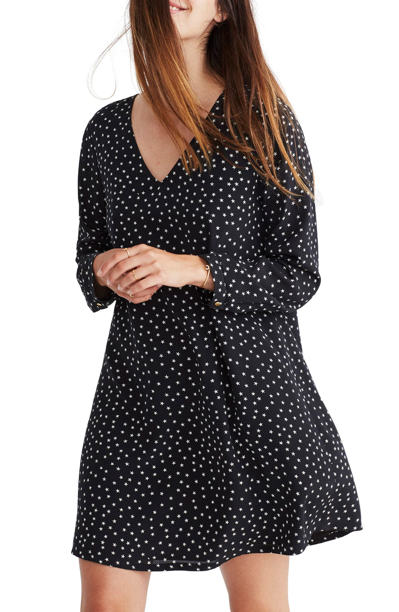 Madewell Star Silk Button Back Dress