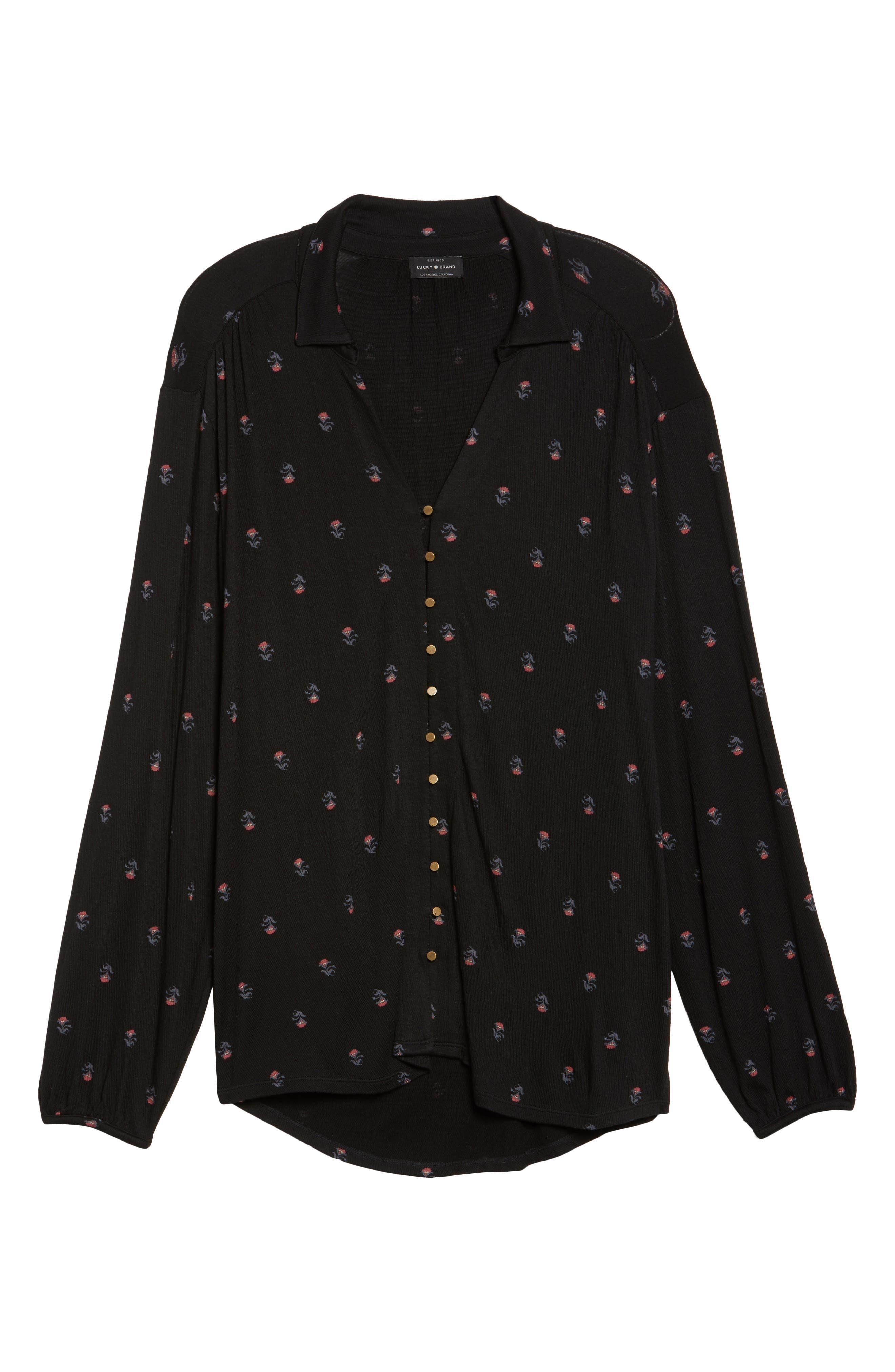 Alternate Image 6  - Lucky Brand Ditsy Print Shirt (Plus Size)