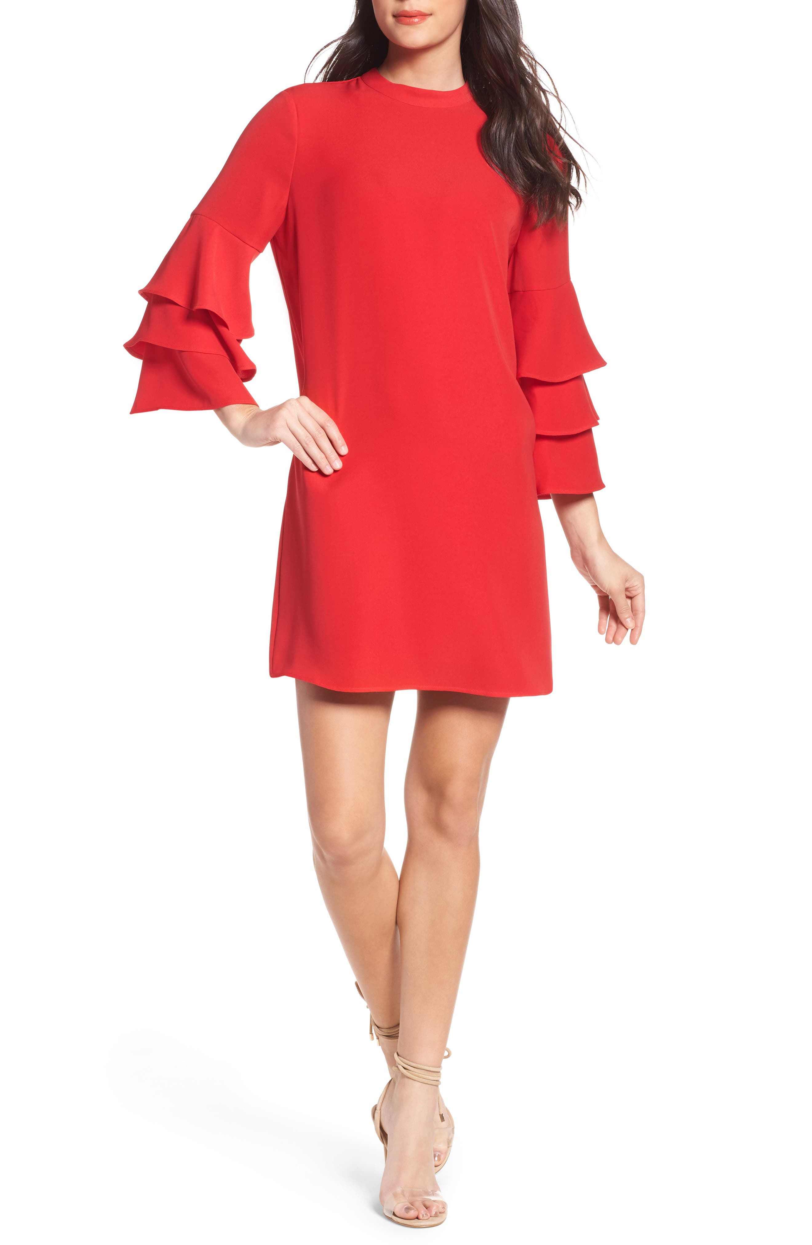 Ruffle Sleeve Shift Dress,                         Main,                         color, Red Mars