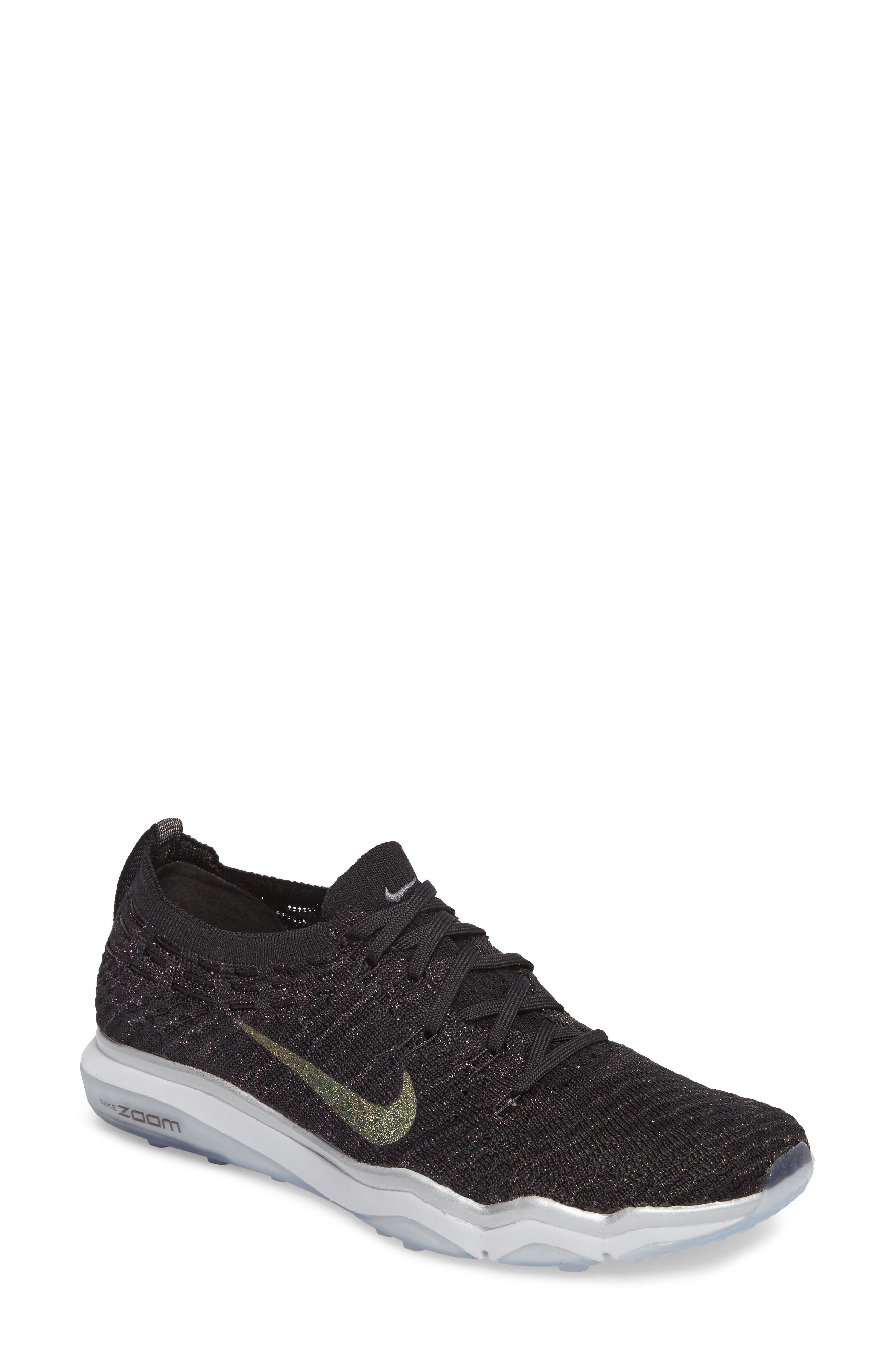 Air Zoom Fearless Flyknit Metallic Training Shoe,                             Main thumbnail 1, color,                             Black/ Dark Grey/ Silver