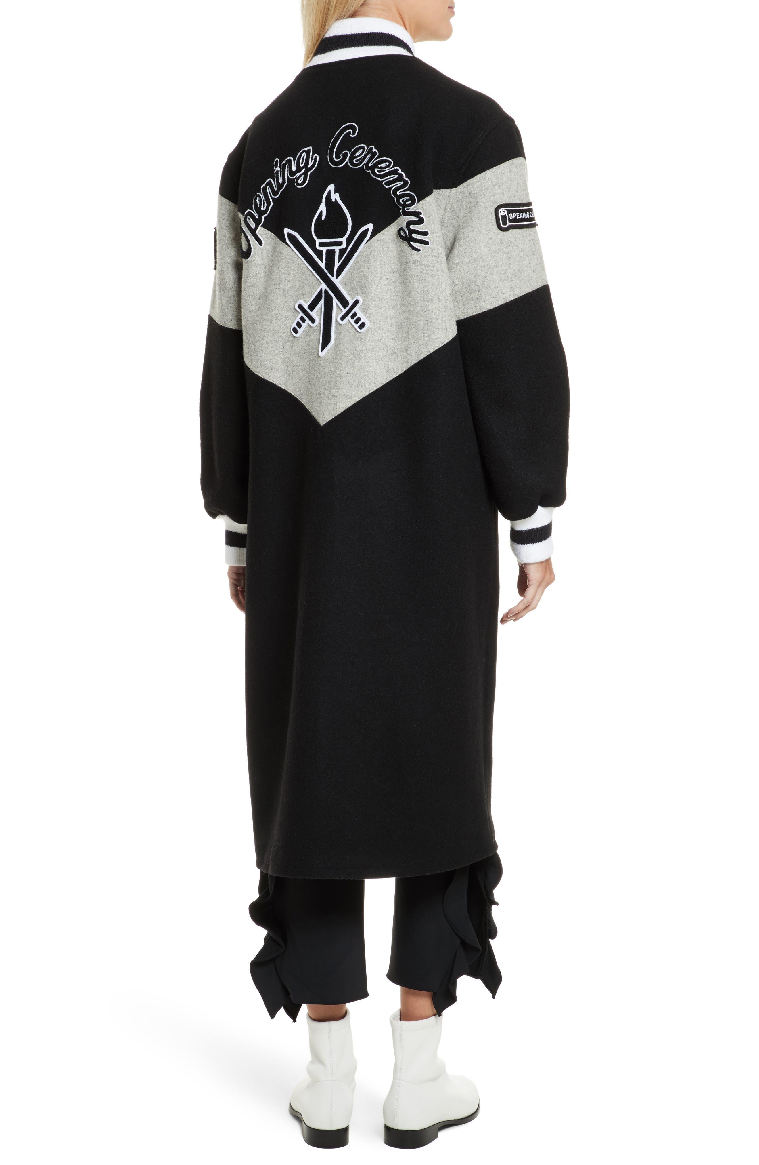 Alpha Long Varsity Jacket,                             Alternate thumbnail 2, color,                             Black