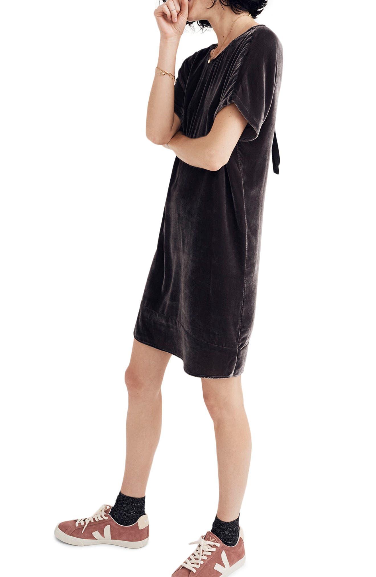 Main Image - Madewell Velvet Bow Back Shift Dress