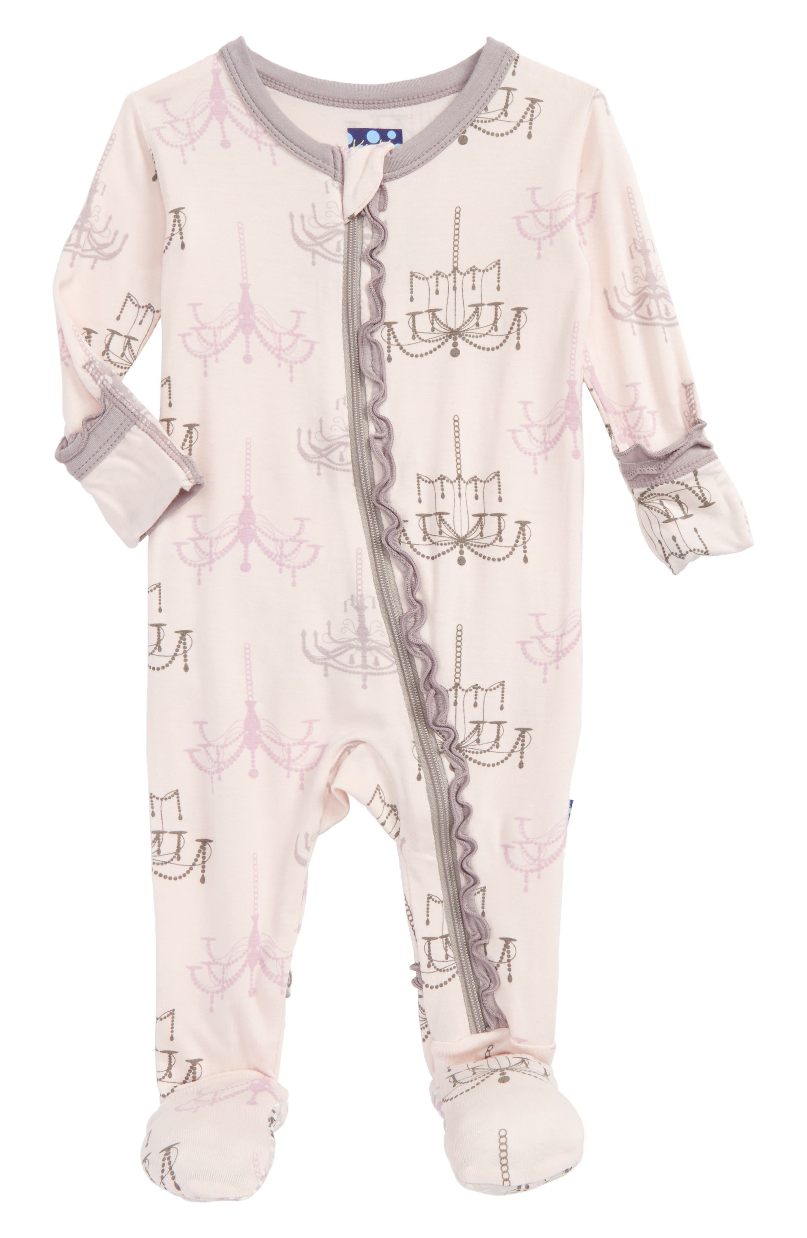 Print Fitted One-Piece Footie Pajamas,                         Main,                         color, Macaroon Chandelier