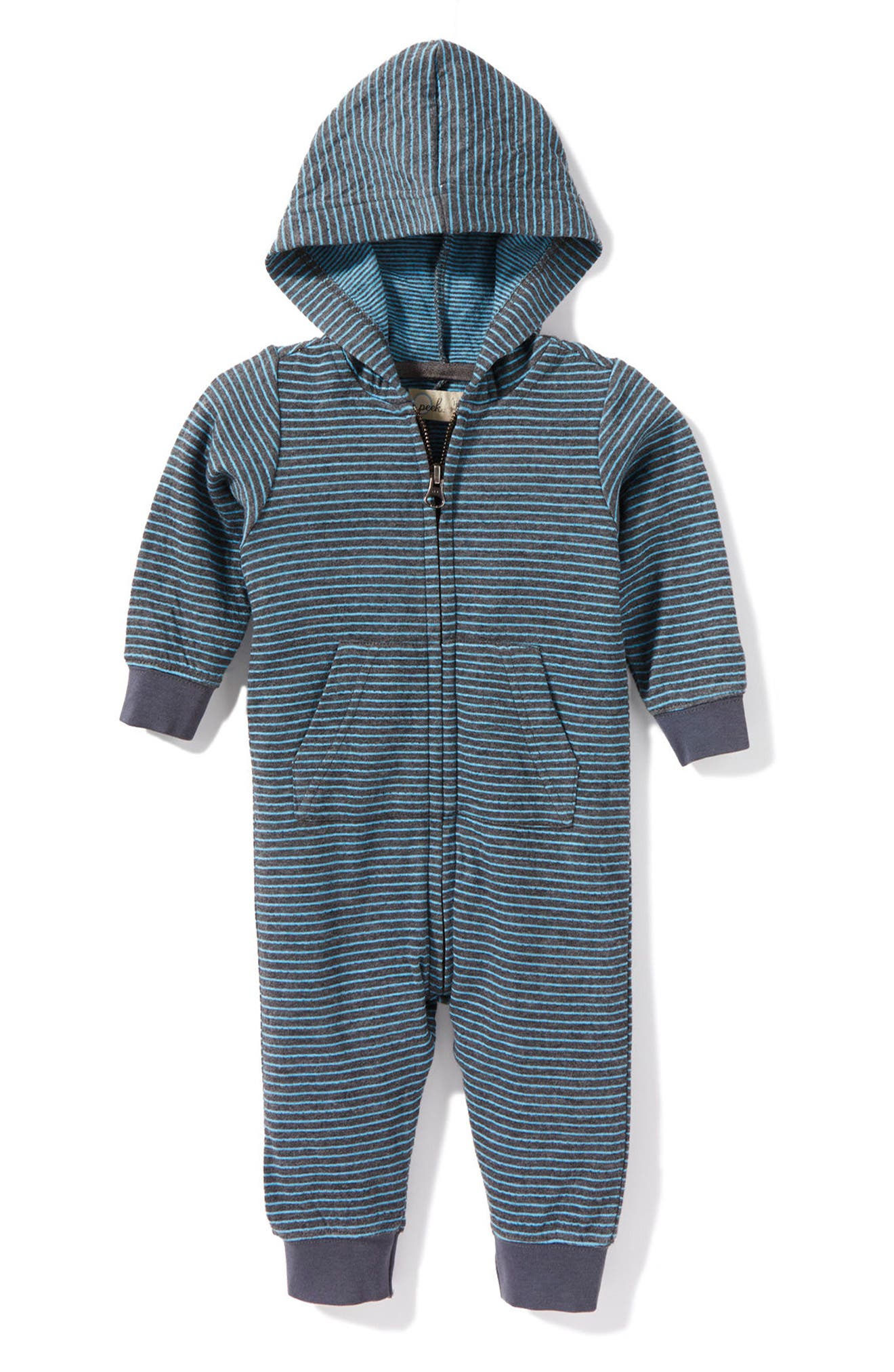 Peek Stripe Hooded Romper (Baby Boys)