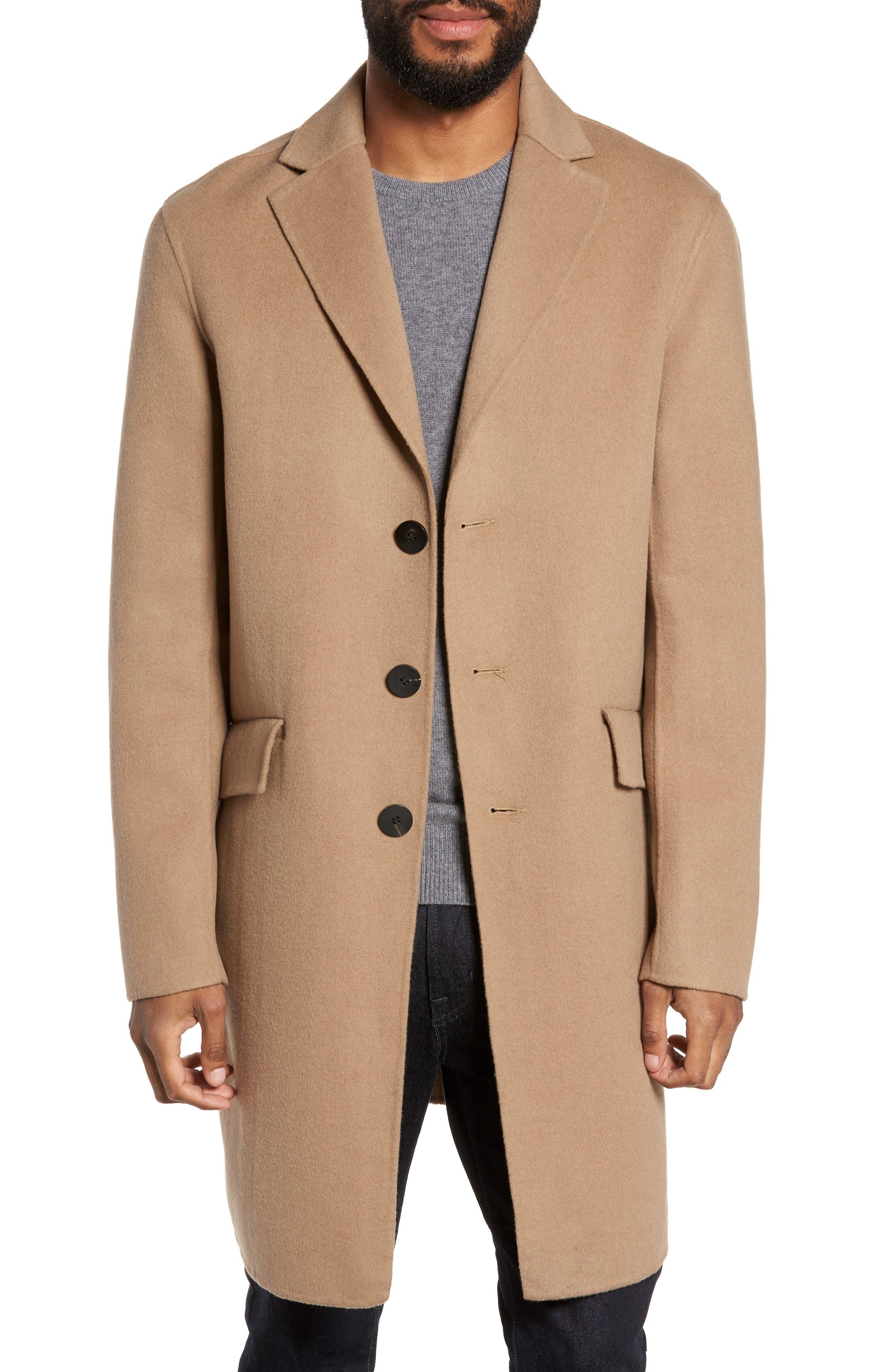 Wool Blend Topcoat,                         Main,                         color, Camel