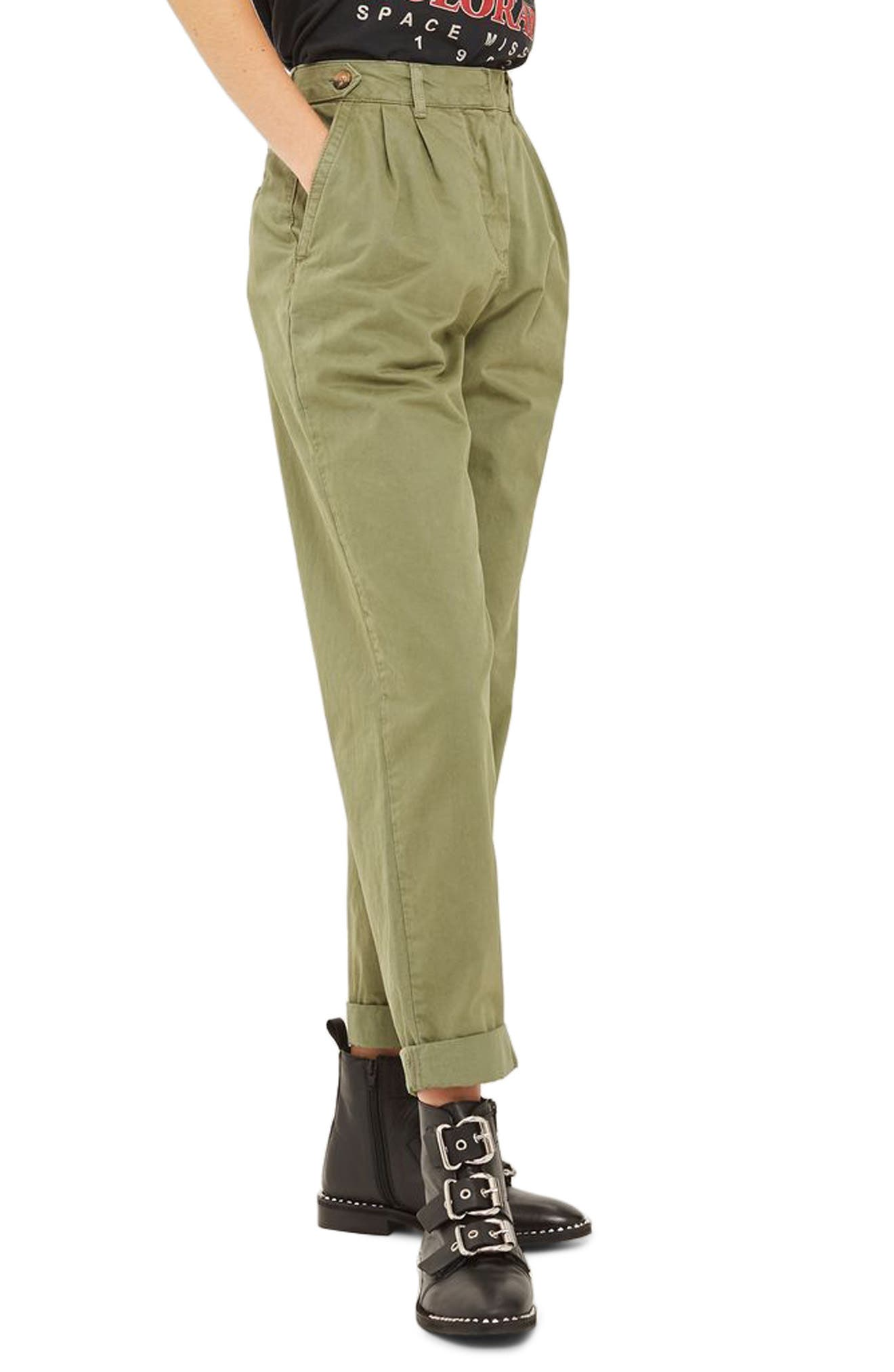 Side Tab Utility Trousers,                         Main,                         color, Olive