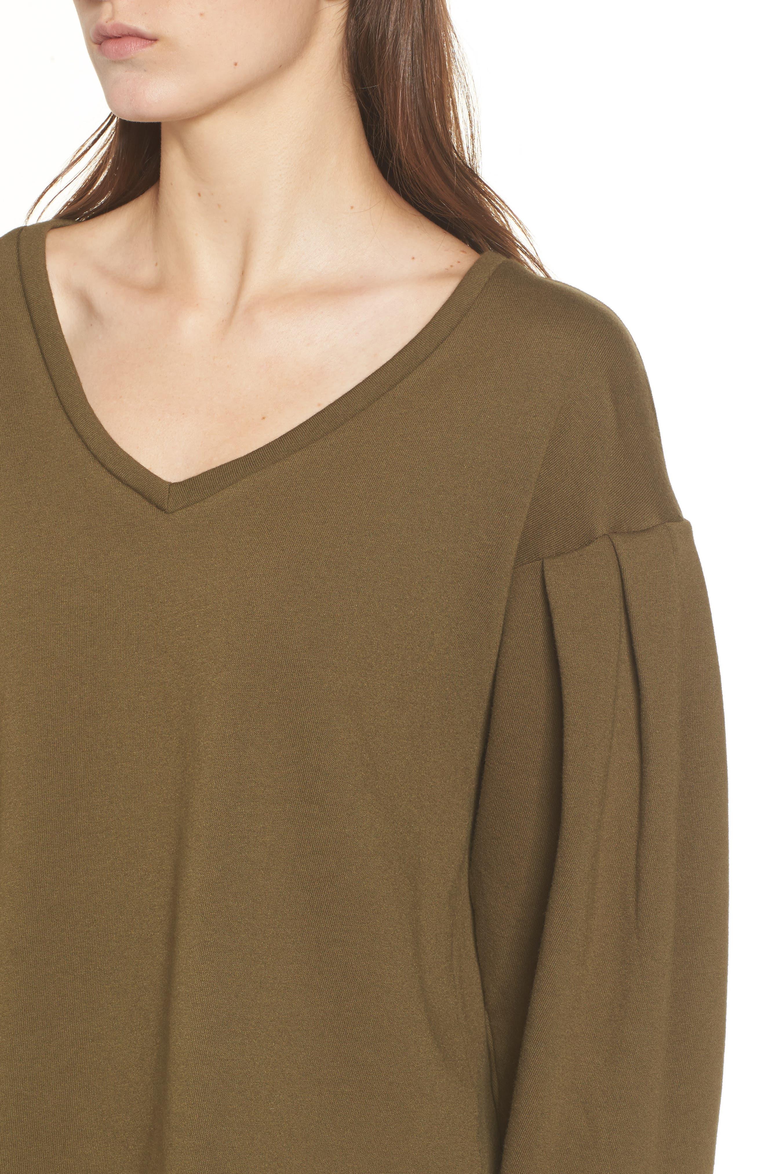 Pleat Sleeve Sweater,                             Alternate thumbnail 4, color,                             Olive Dark