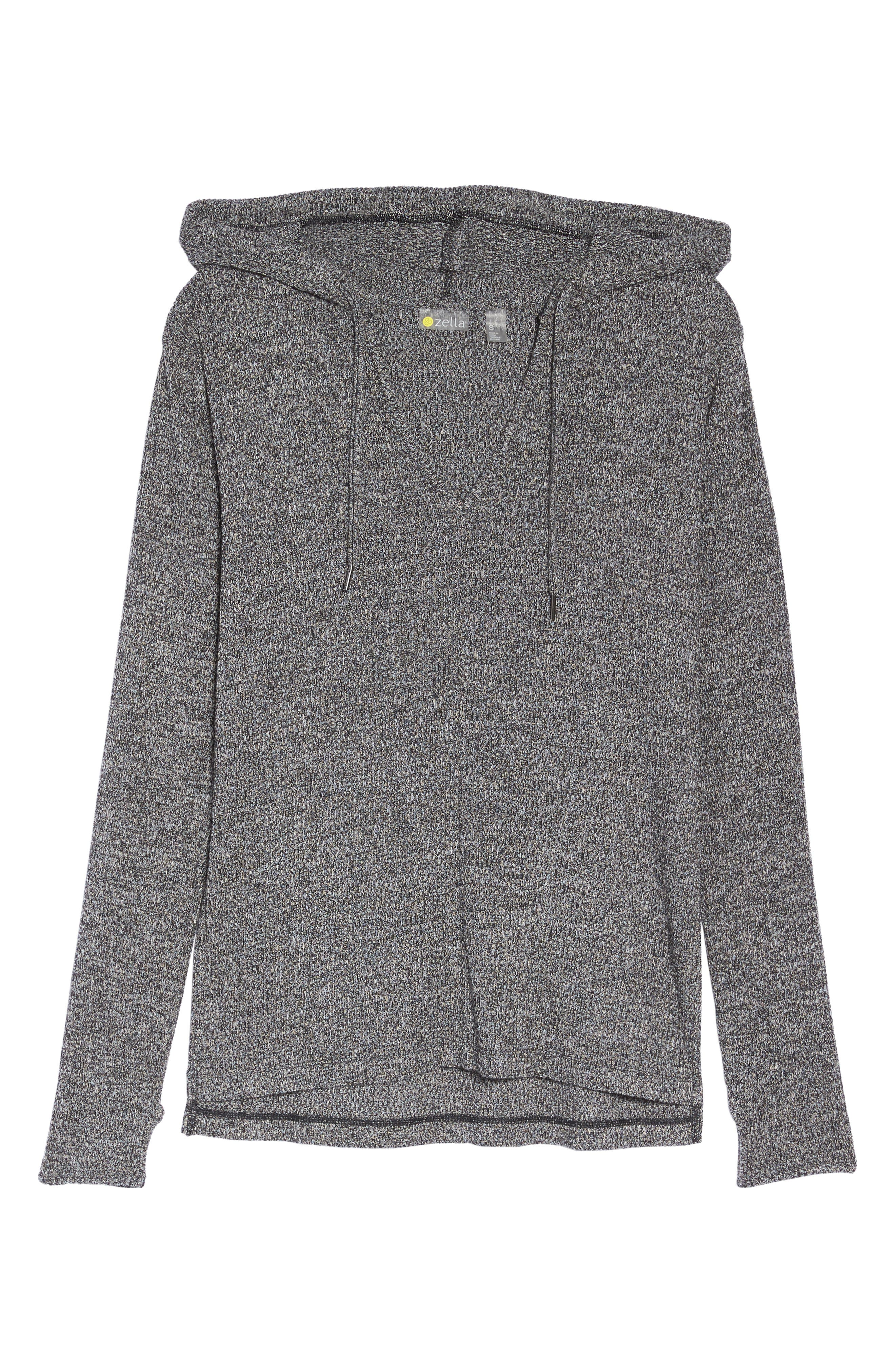 Mantra Hooded Pullover Top,                             Alternate thumbnail 7, color,                             Black Heather