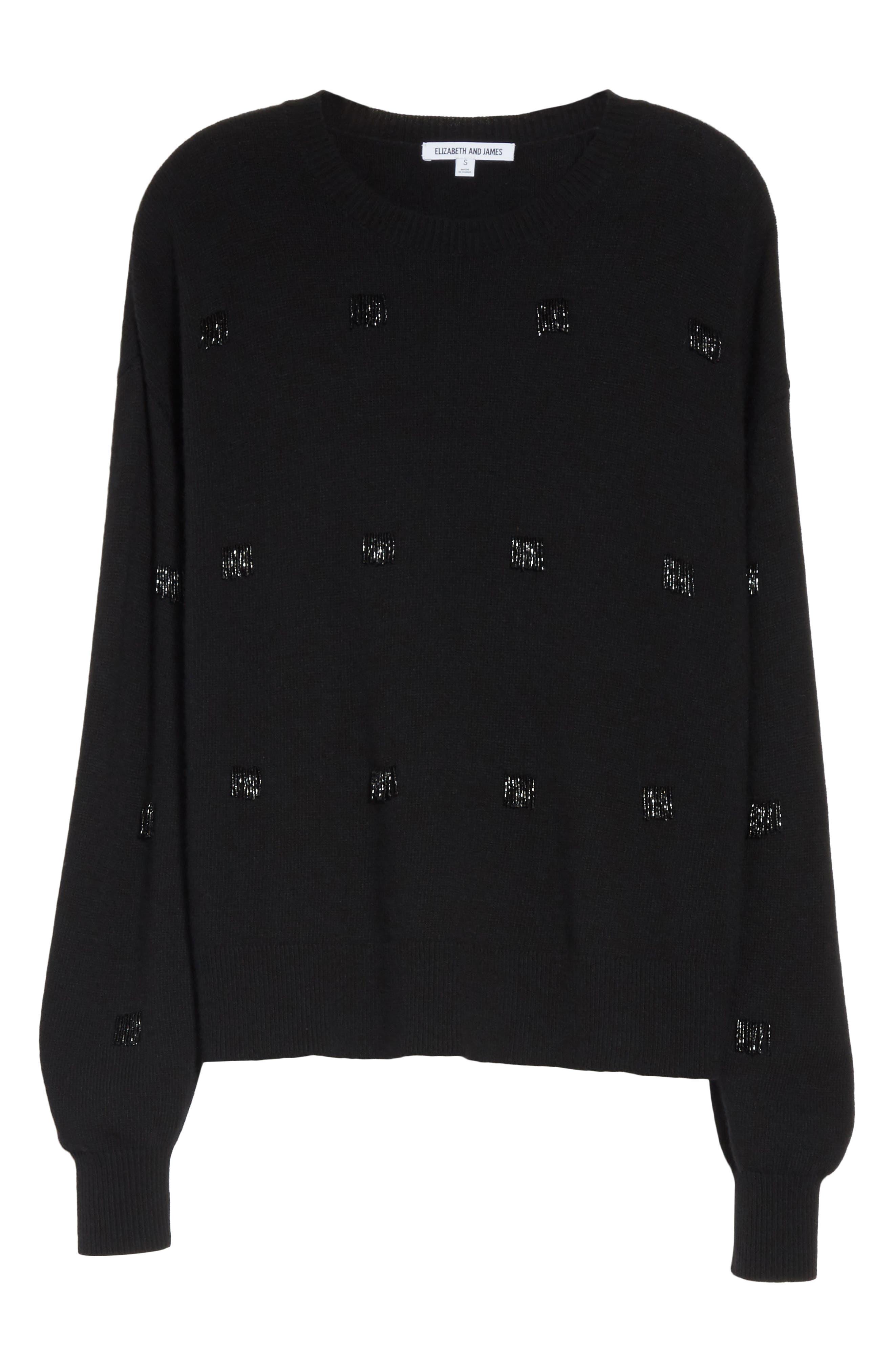 Fionn Beaded Fringe Sweater,                             Alternate thumbnail 6, color,                             Black