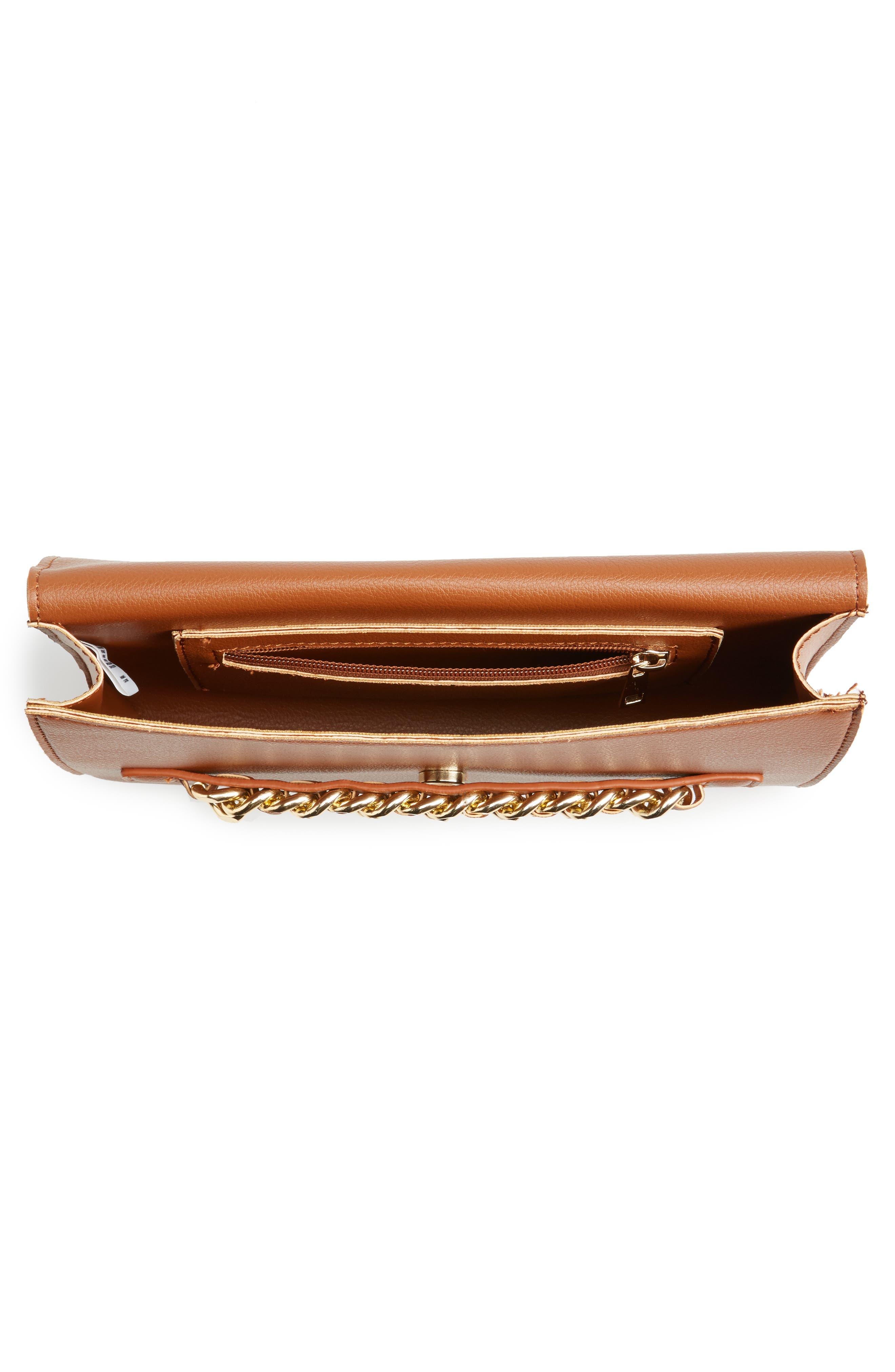 Chain Faux Leather Envelope Clutch,                             Alternate thumbnail 3, color,                             Cognac